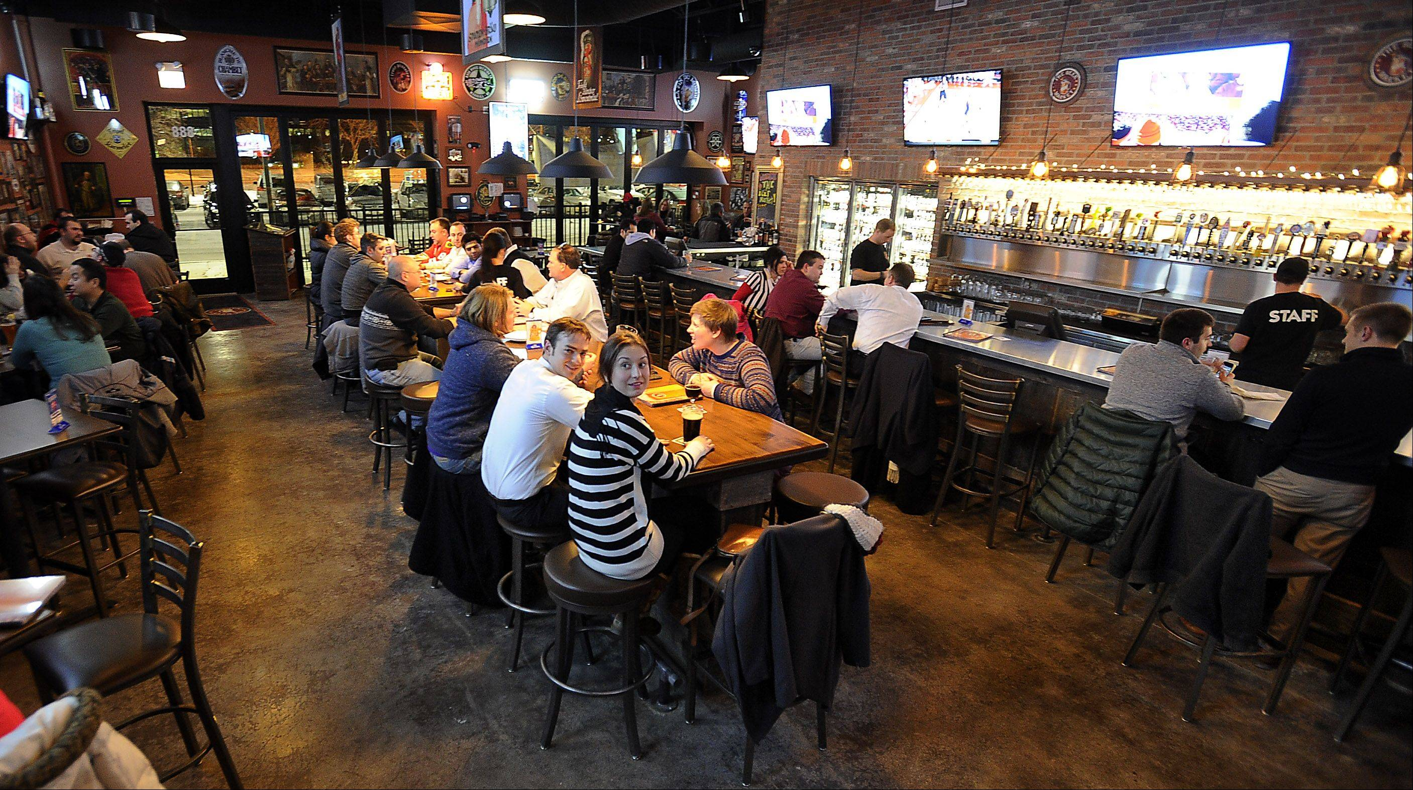 The Beer Market in Schaumburg fills up on game nights.
