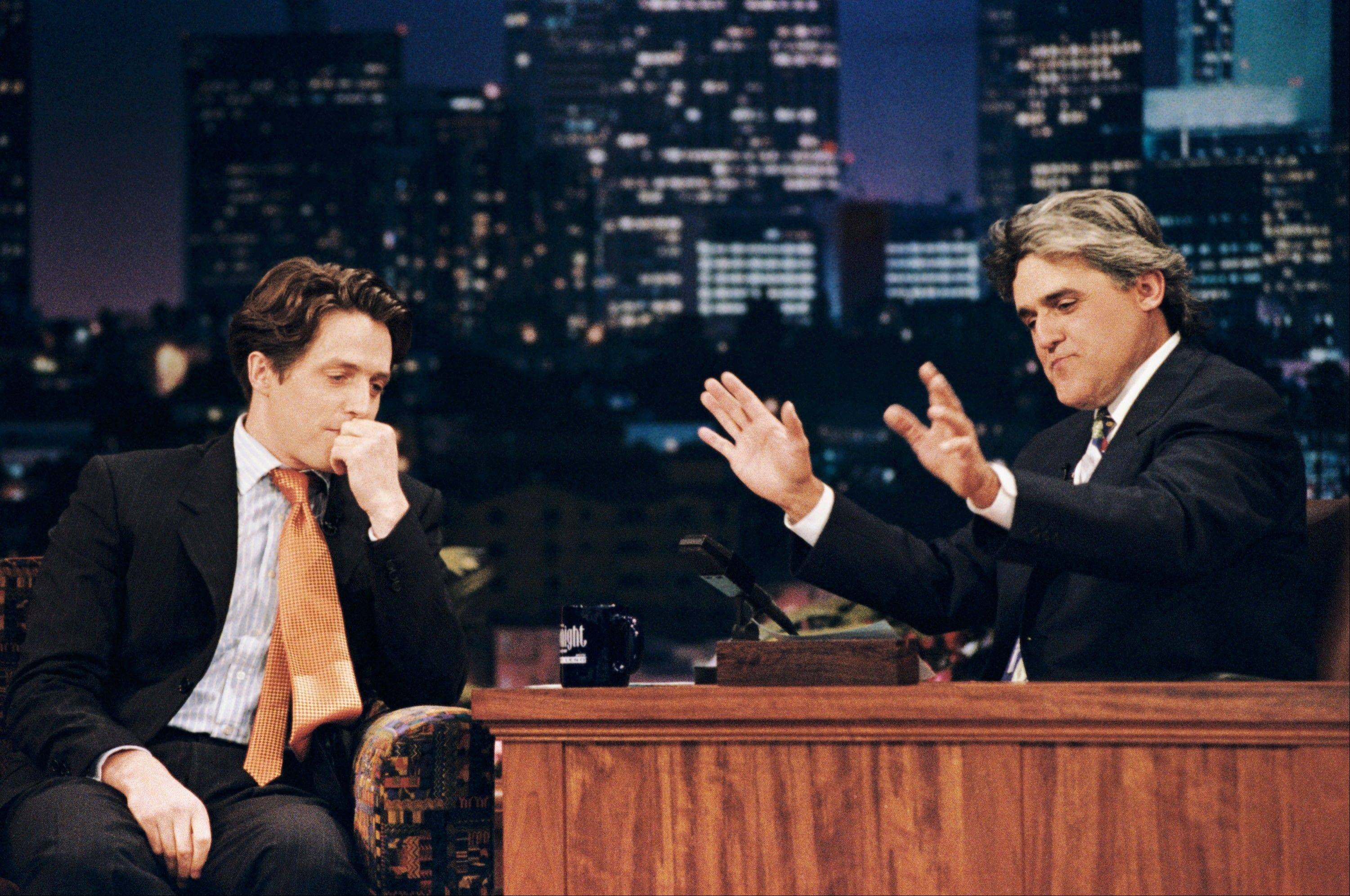 "Two weeks after Hugh Grant's highly publicized arrest in 1995 for picking up a prostitute, he let Jay Leno interview on ""The Tonight Show with Jay Leno."""