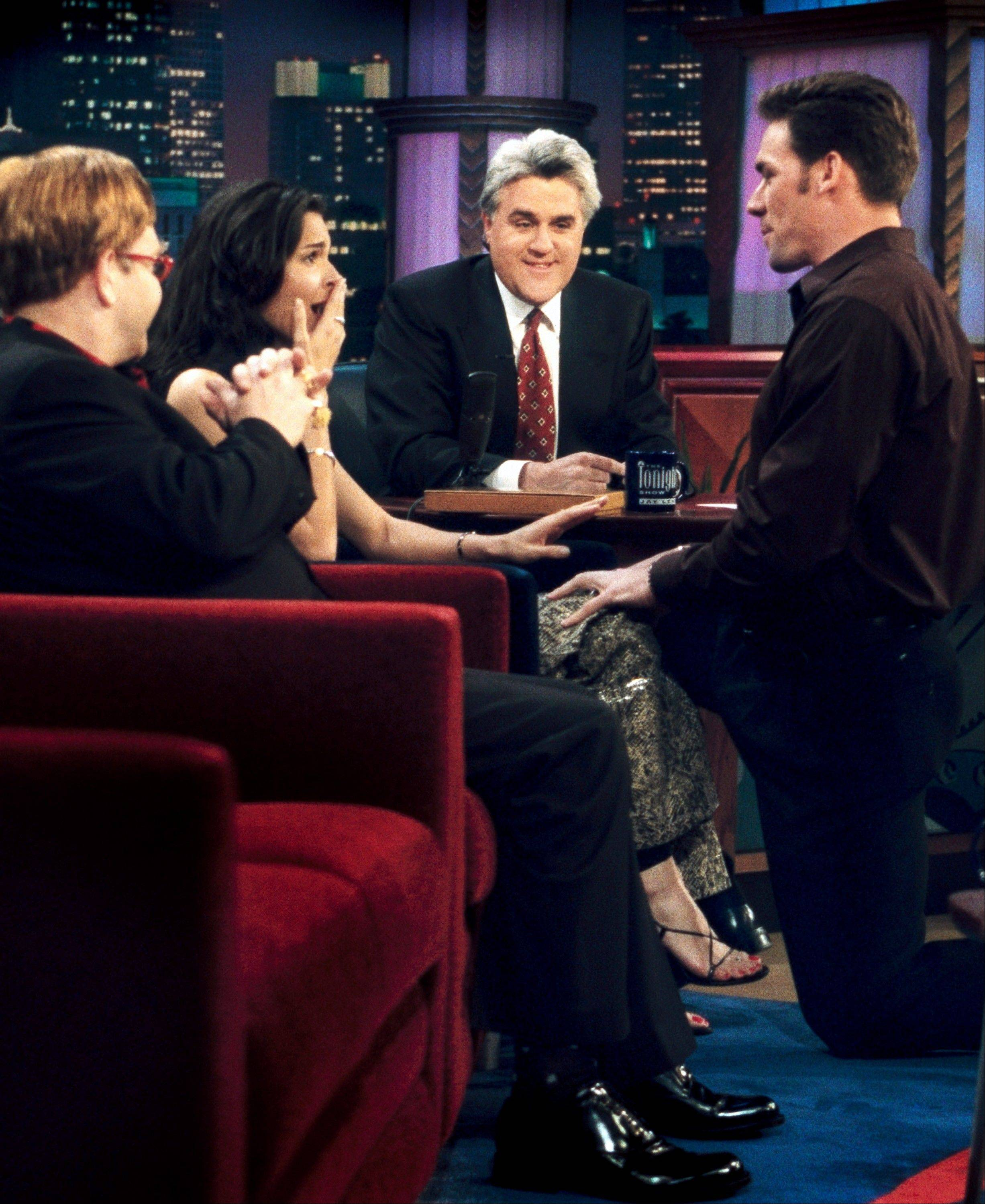 "There were many memorable moments on ""The Tonight Show with Jay Leno,"" including when professional football player Jason Sehorn, right, proposed to actress Angie Harmon in 2000."
