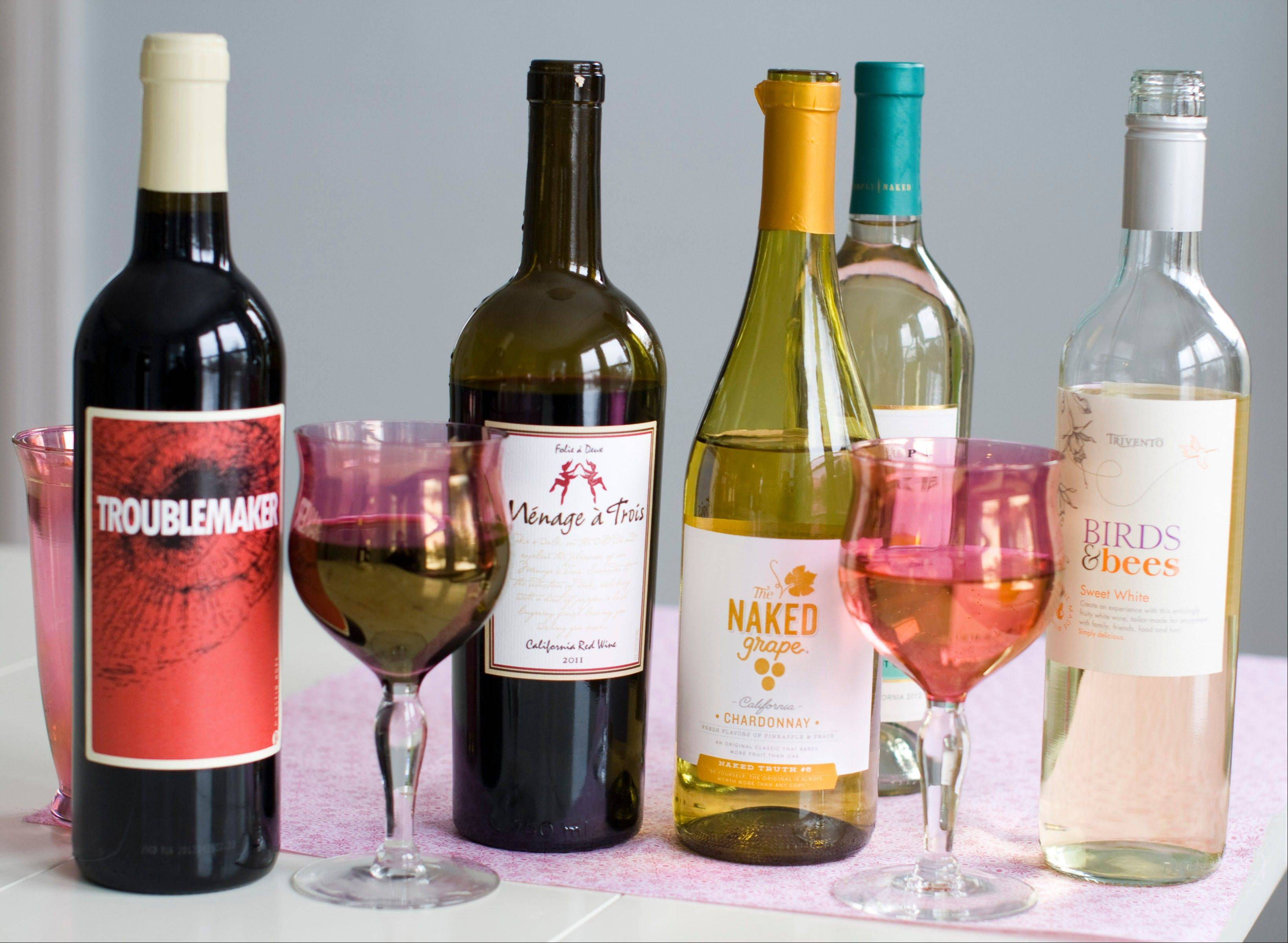 Wine abounds with labels that range from sweet to saucy for Valentine's Day enjoyment.