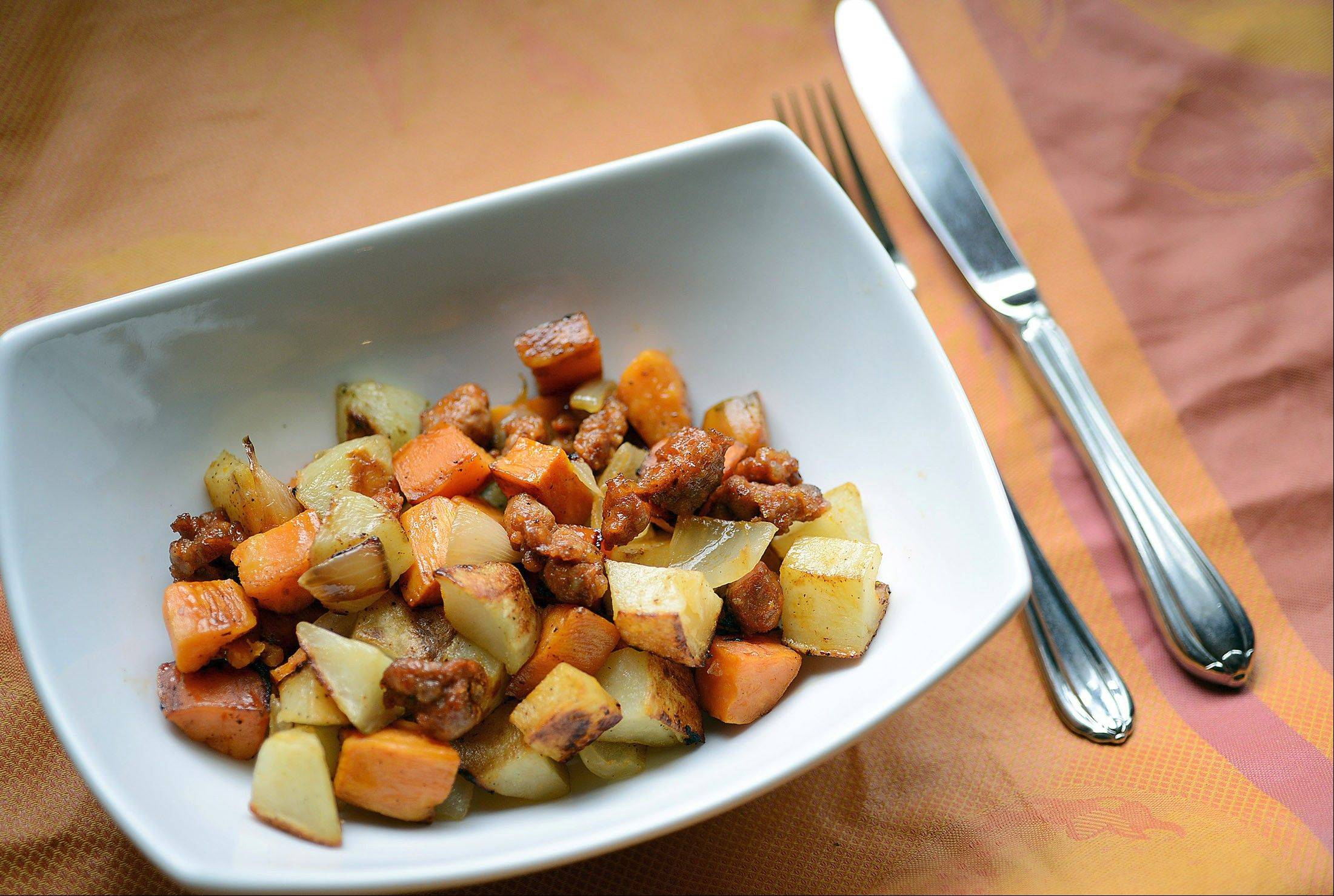 Roasted Russet and Sweet Potato Hash With Chorizo