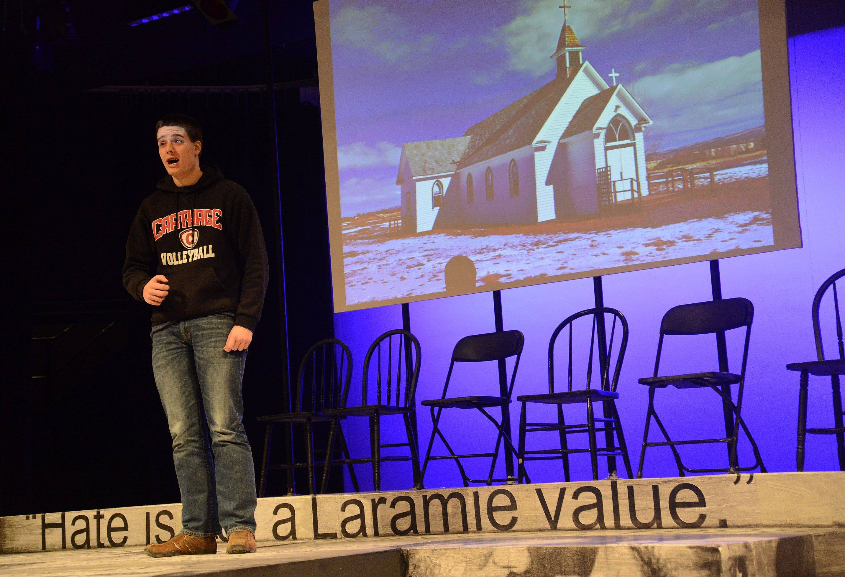 "Rolling Meadows High School student Evan Thompson rehearses for the upcoming performance in ""The Laramie Project."" The high school will present the play Thursday, Friday and Saturday."