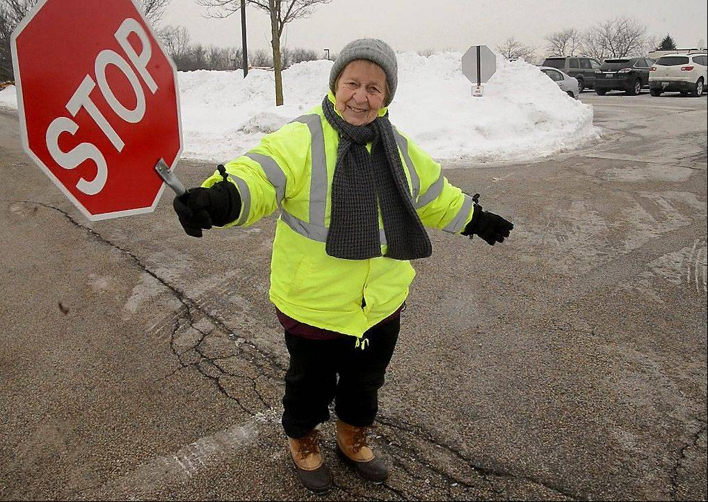 At her post at Isaac Fox Elementary School, Marie McBride was honored for 40 years as a Lake Zurich crossing guard.