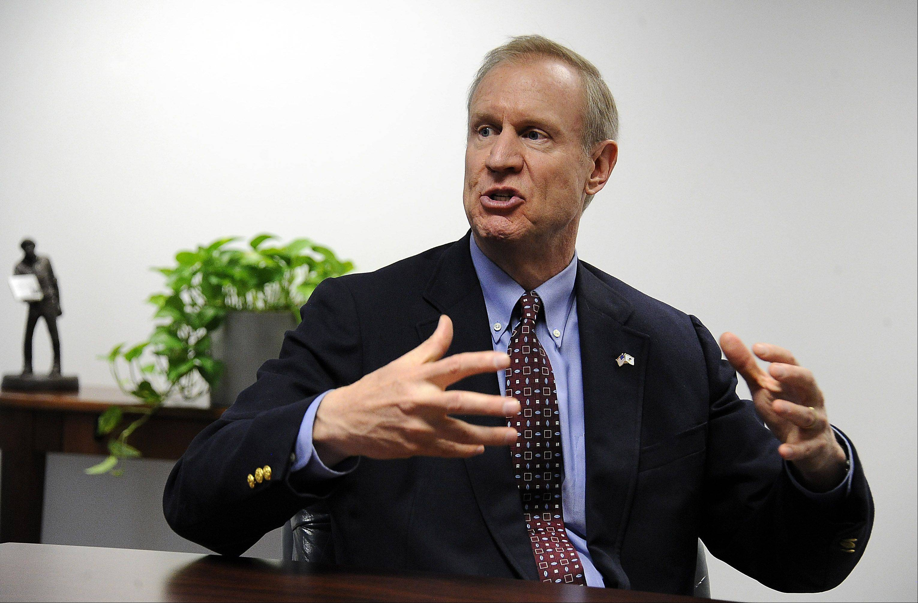 Republican governor candidate Bruce Rauner speaks to the Daily Herald editorial board.