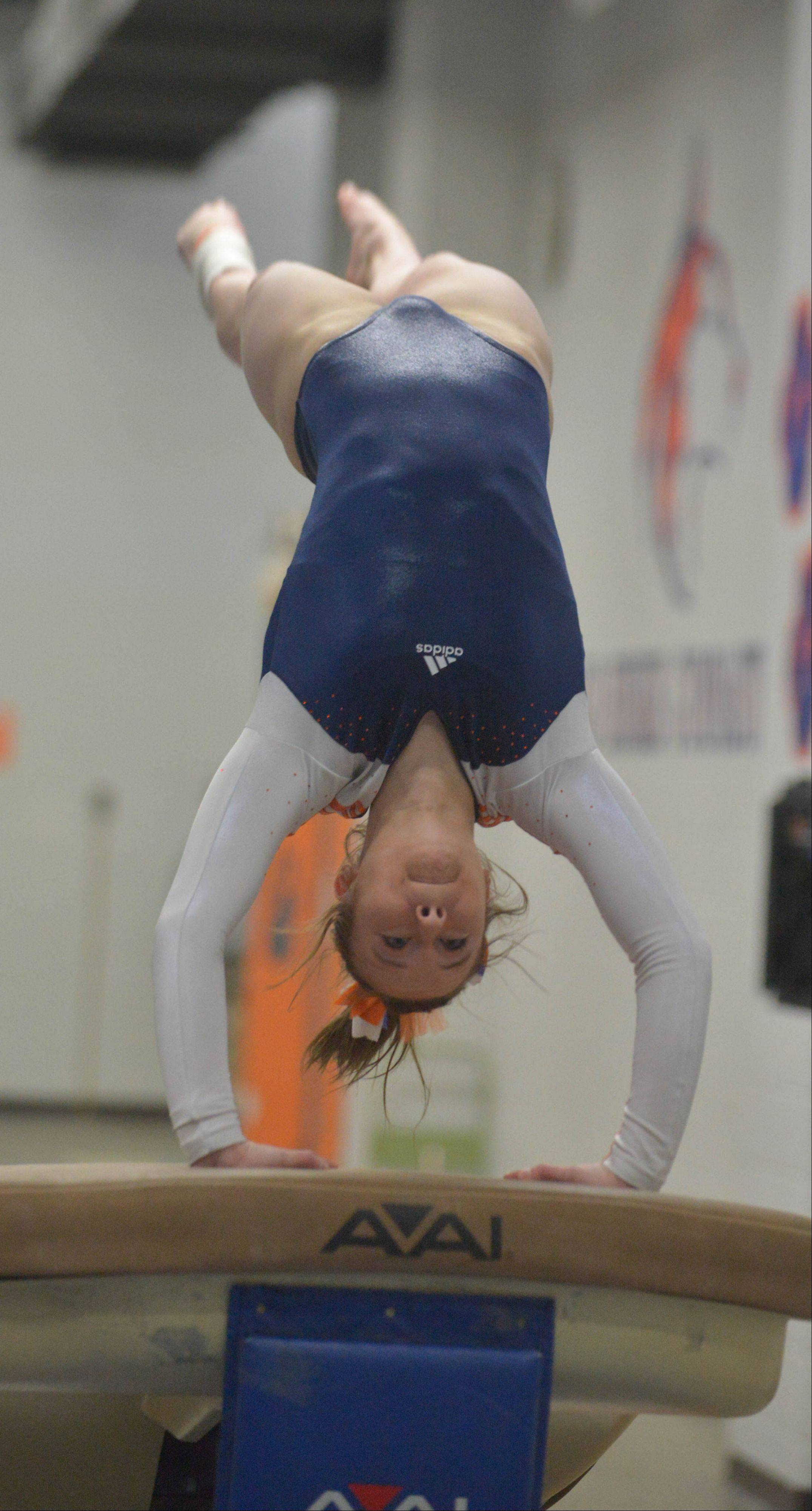 Anneli Kawaoka of Naperville North on the Vault during the Naperville North girls gymnastics regional Thursday at Naperville North High School in Naperville,