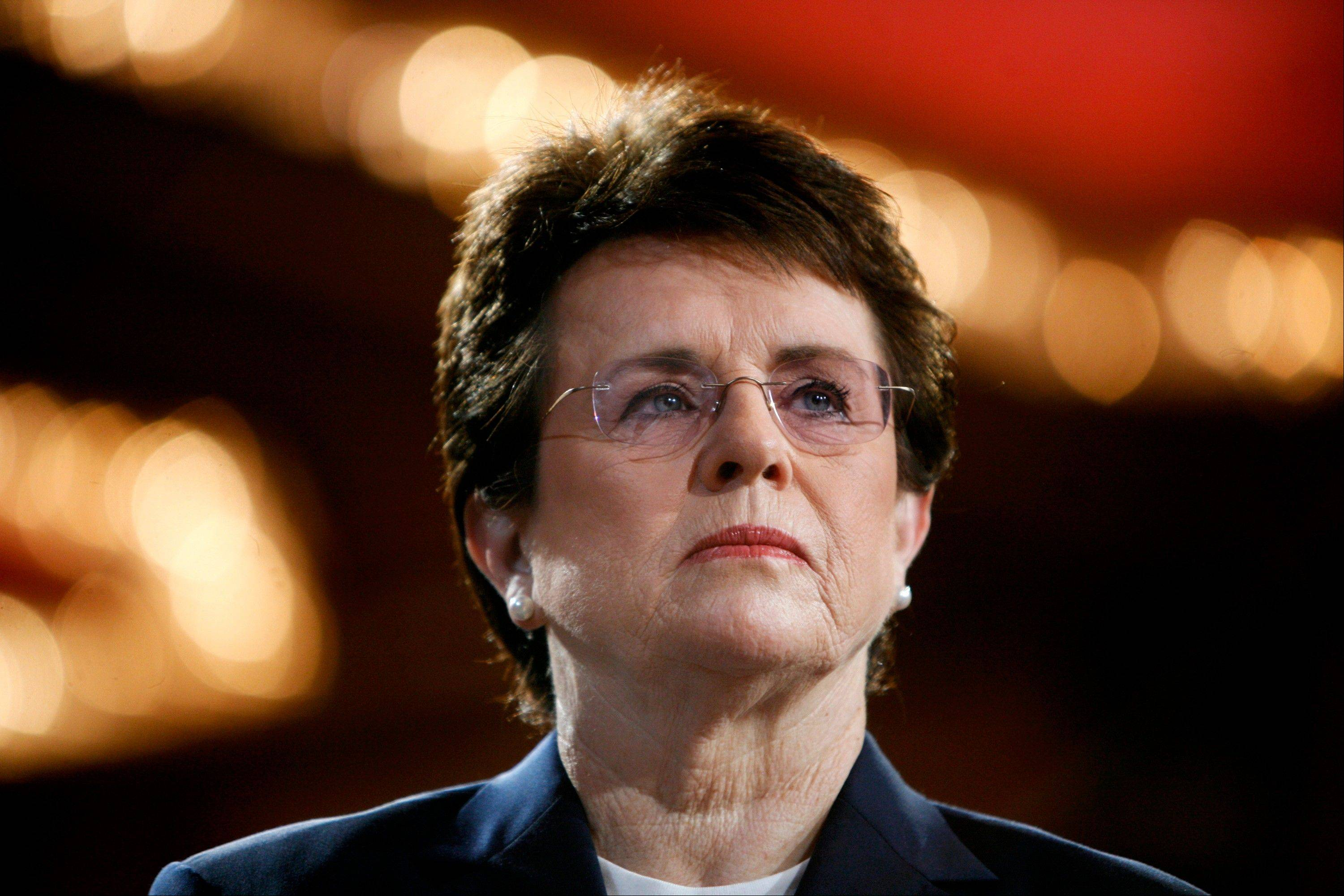 FILE - In this June 4, 2007, file photo, tennis champion Billie Jean King is introduced during a town hall conversation hosted by the group Women for Hillary in New York. King will not attend Friday's opening ceremony of the Sochi Olympics in Russia because her mother is ill. King, chosen in December to help lead the U.S. delegation to the Sochi Games, has been outspoken in her opposition to Russia's anti-gay law and had planned to attend ice hockey and figure skating events and meet U.S. athletes during her three-day visit to the games.