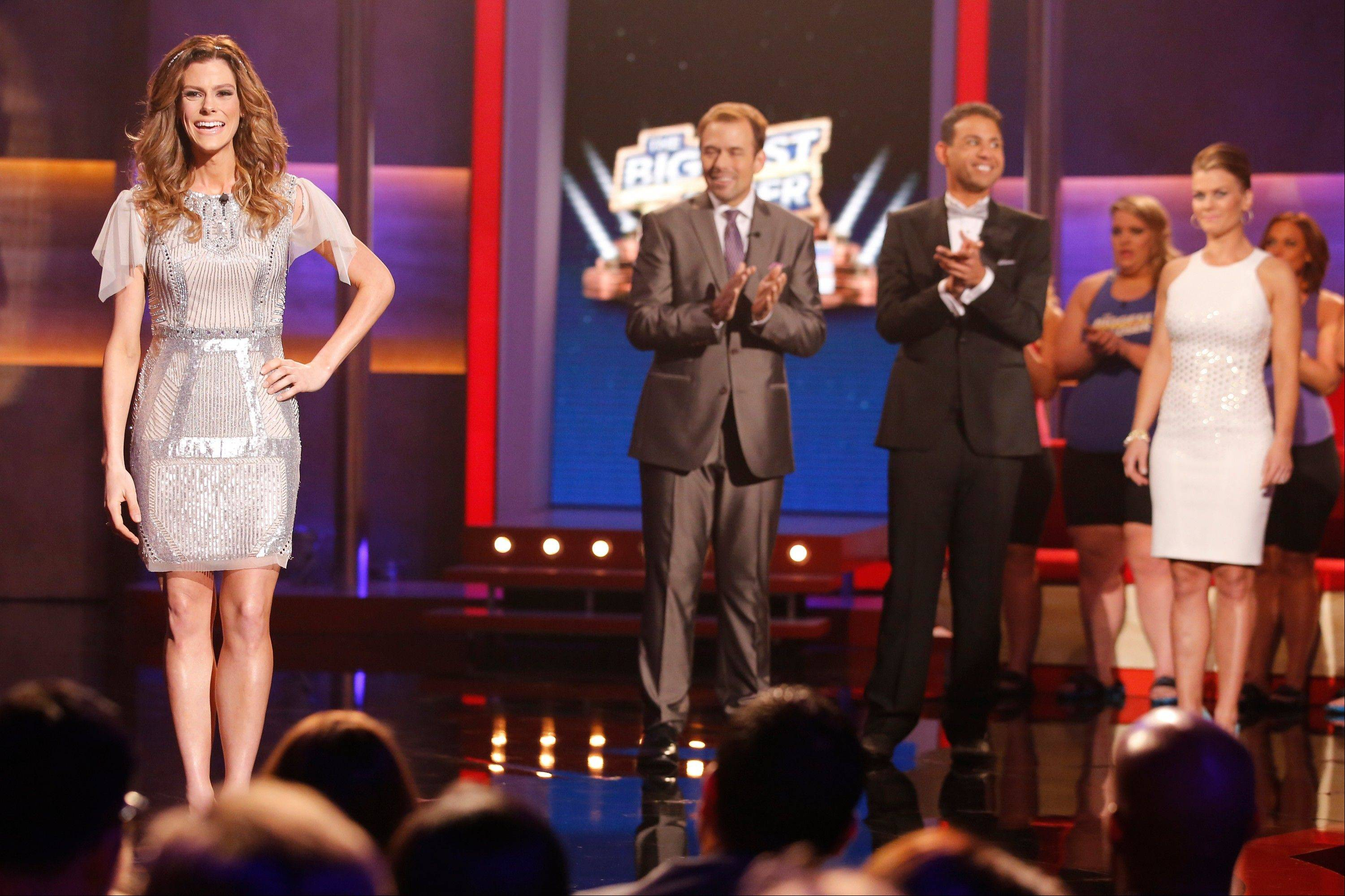"Rachel Frederickson, left, David Brown, Bobby Saleem and host Alison Sweeney on the finale of ""The Biggest Loser"" in Los Angeles."