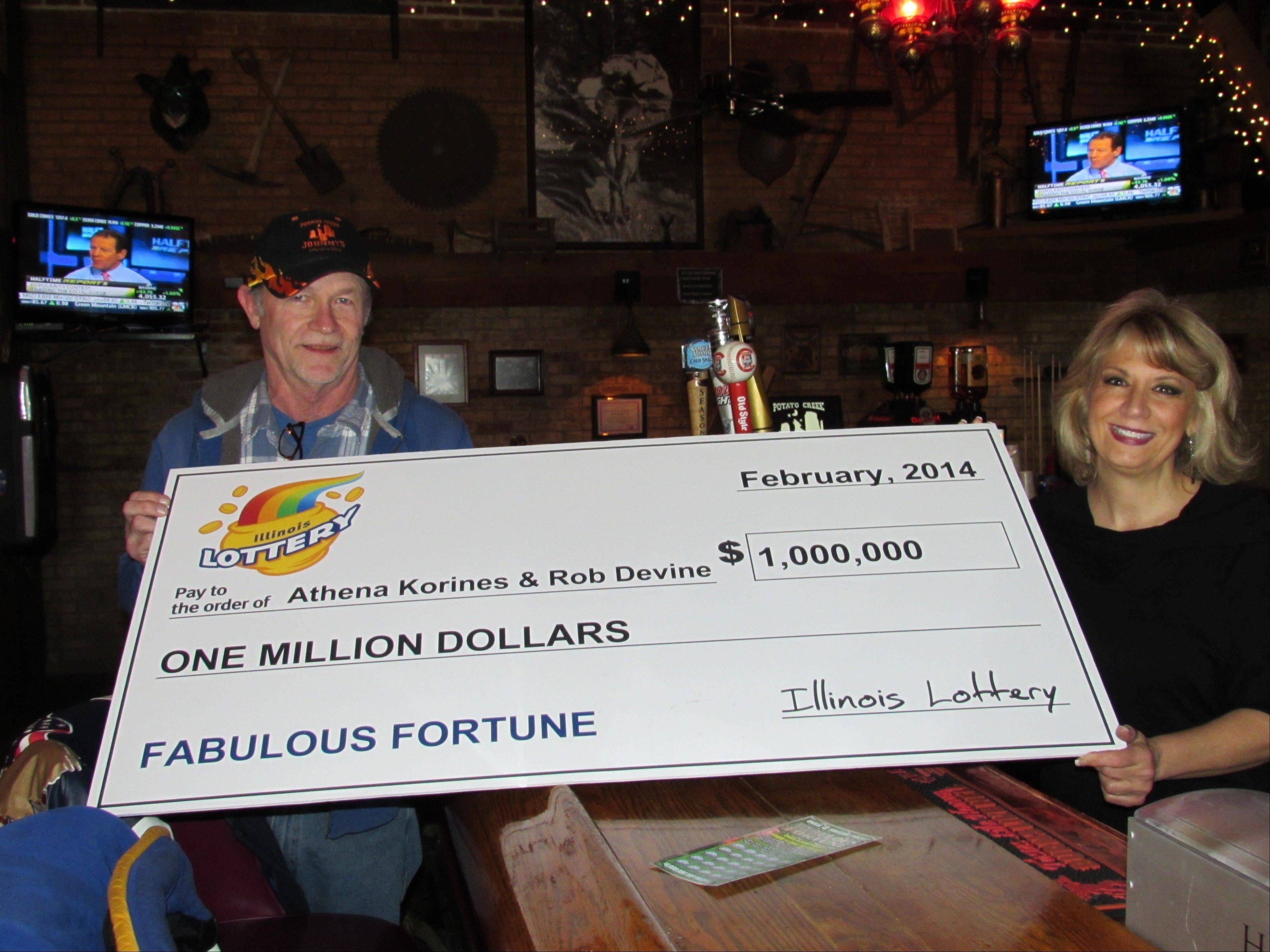 Rob Devine of Des Plaines and Athena Korines of Elk Grove Village won $1 million Jan. 24 with a scratch-off lottery ticket. They regularly scratch off tickets together at the bar where Korines works in Glenview.