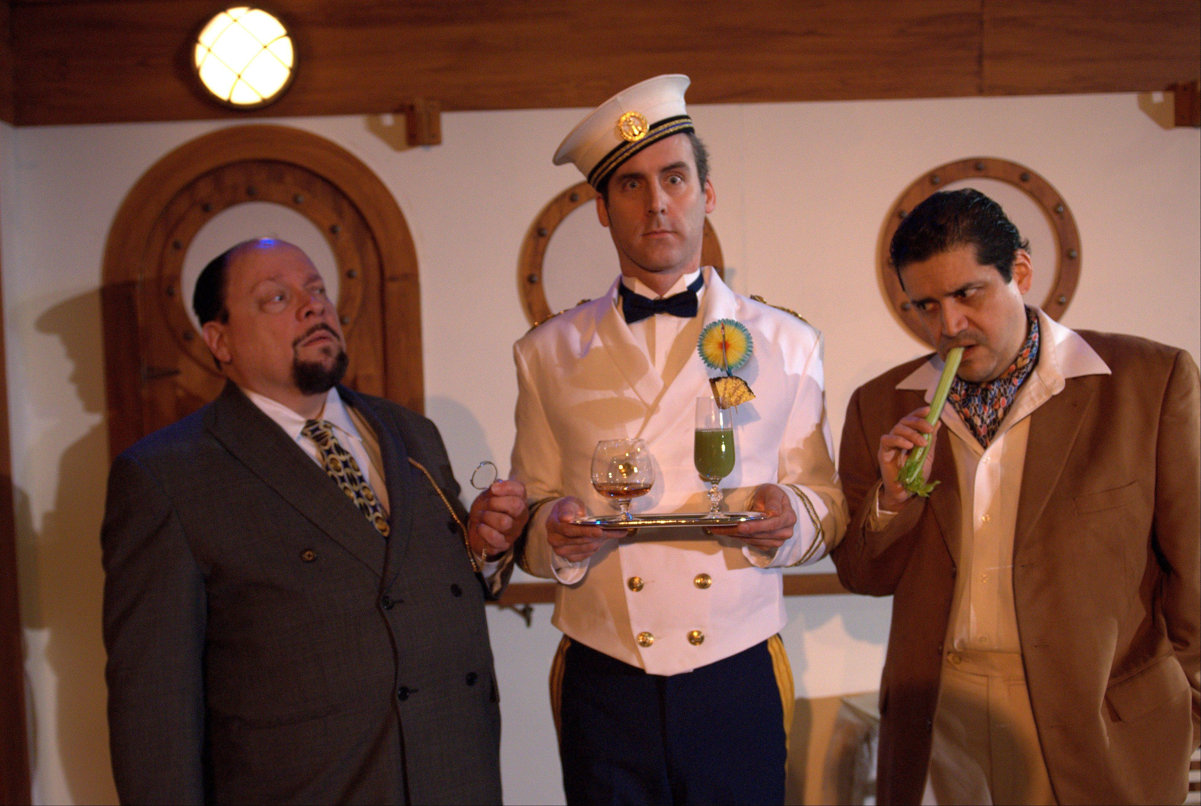 "Kevin McKillip, center, plays an unsteady ship's steward in First Folio Theatre's ""Rough Crossing,"" featuring David Rice, left, and Rene Ruelas as writers trying to finish a play before their ocean liner sails into New York."