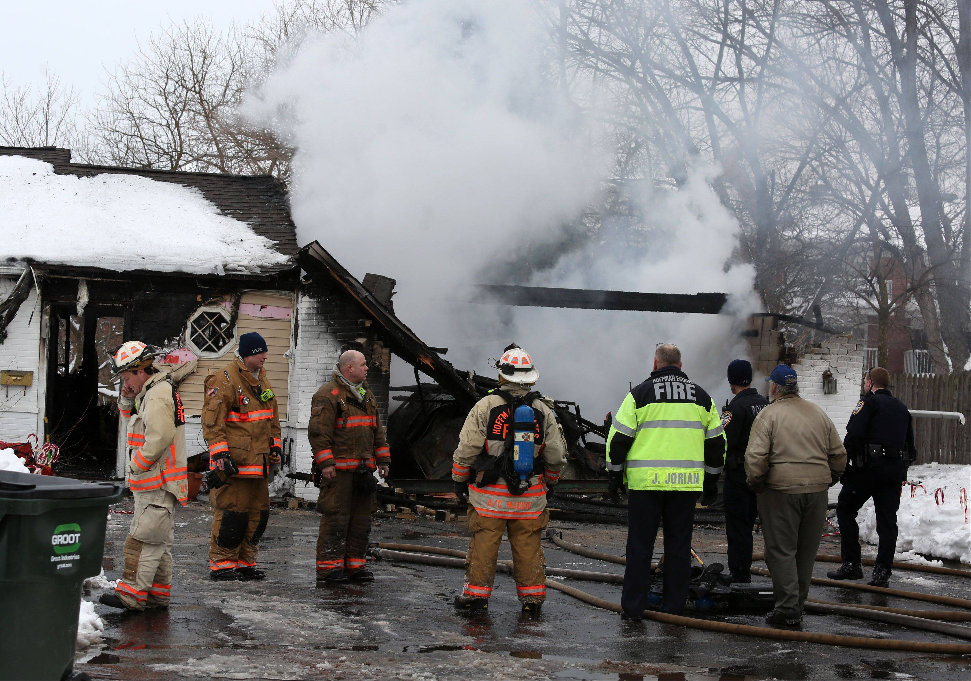 Hoffman Estates firefighters responded to a house fire Wednesday on Basswood Street between Golf and Higgins roads. Two pets were later found dead, and the home was left completely uninhabitable.