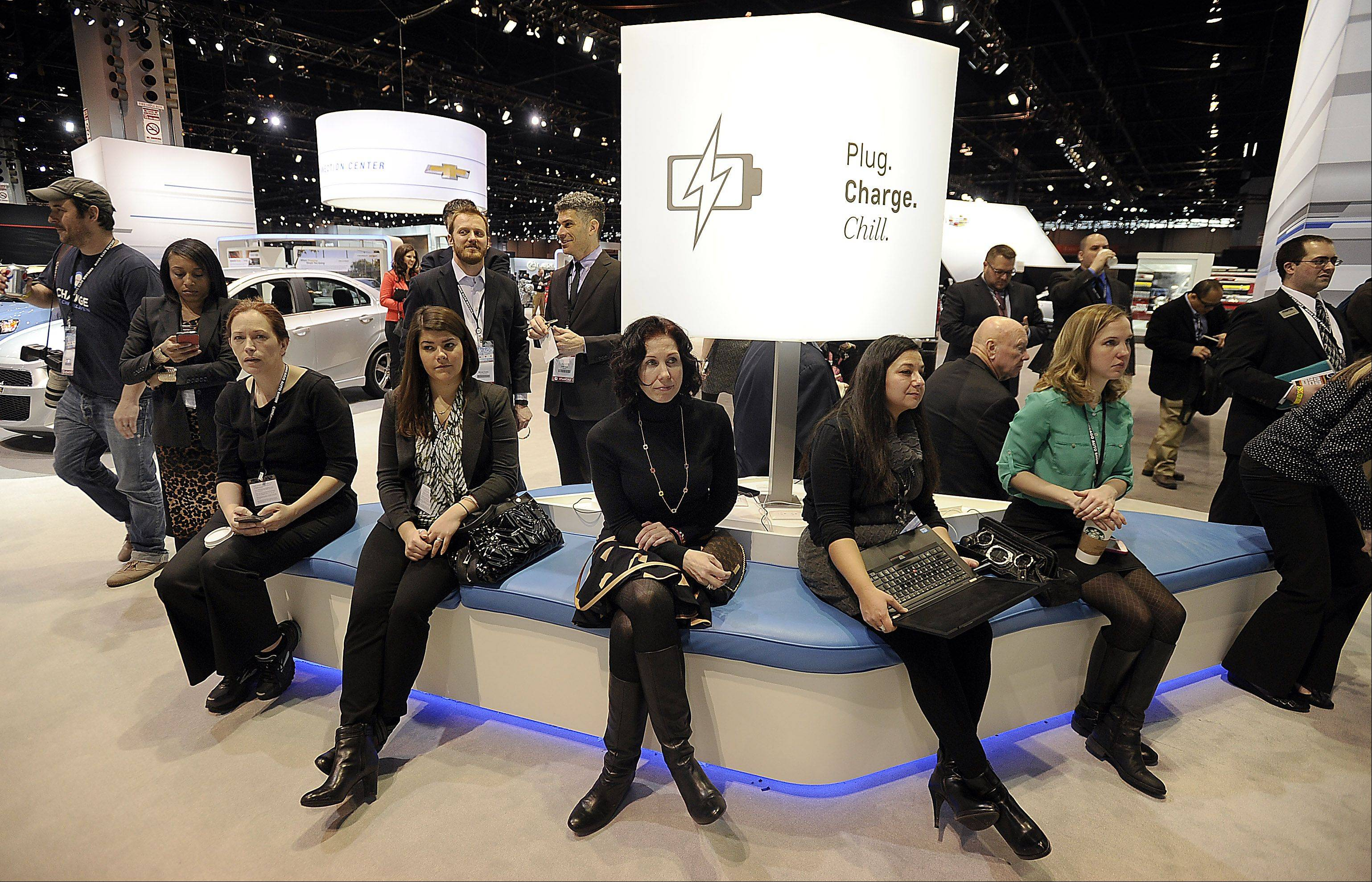 The Plug, Charge and Chill rest areas are featured at the Chicago Auto Show for 2014.