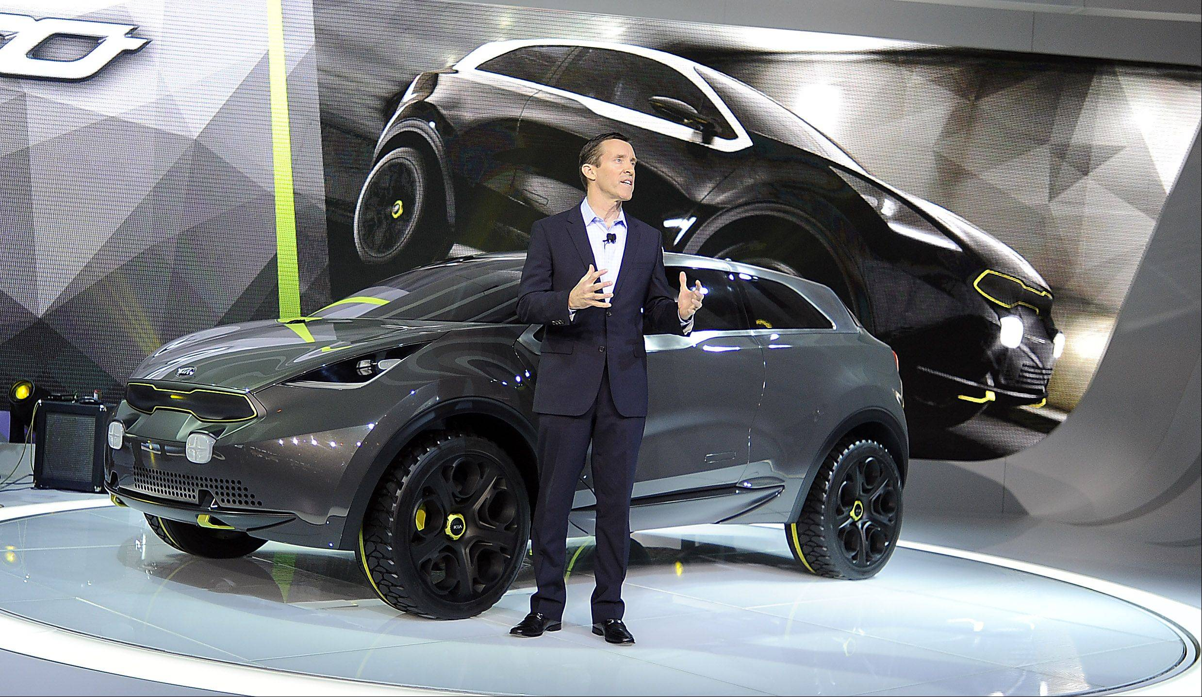 Michael Sprague, Executive Vice President Marketing and Communications Kia Motors America introduces the Niro Concept car.