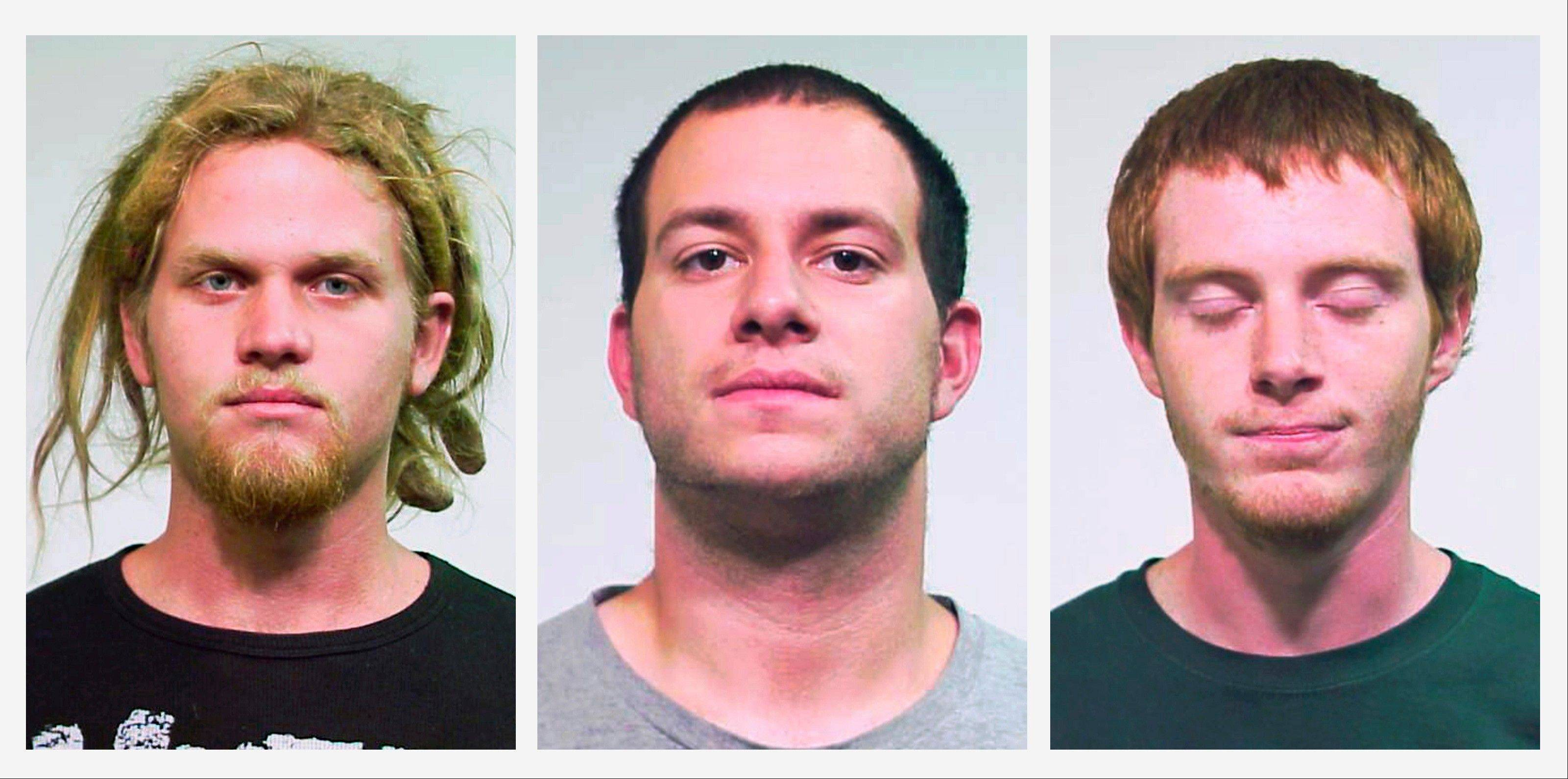 Brent Vincent Betterly, of Oakland Park, Fla., Jared Chase, of Keene, N.H., and Brian Church, of Fort Lauderdale, Fla., are accused of plotting Molotov cocktail attacks during the 2012 NATO summit in Chicago.
