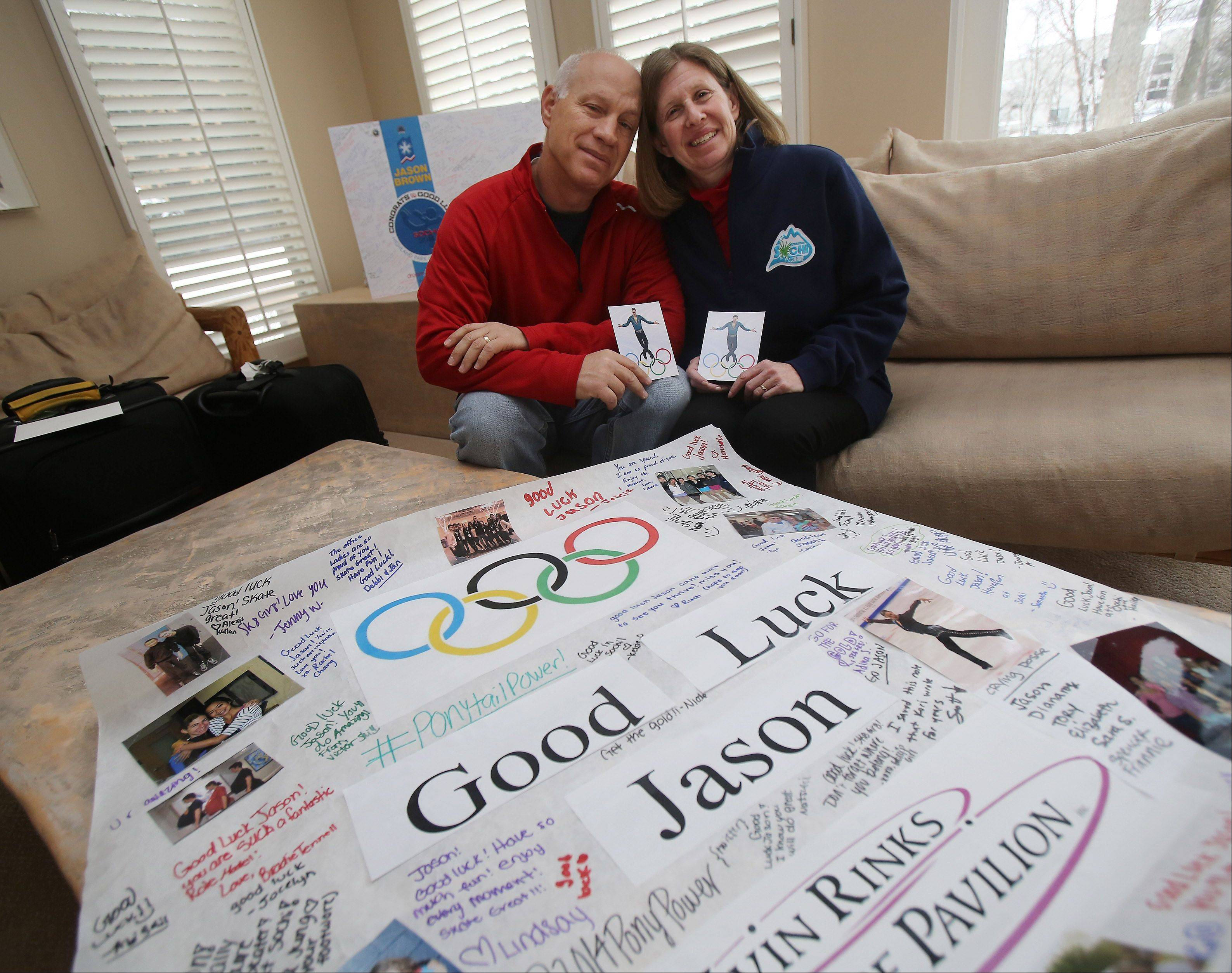 Steve and Marla Brown of Highland Park are heading to Sochi, Russia, to watch their son Jason -- seen at top at the U.S. Figure Skating Championships last month in Boston -- compete in men's figure skating at the Olympics.