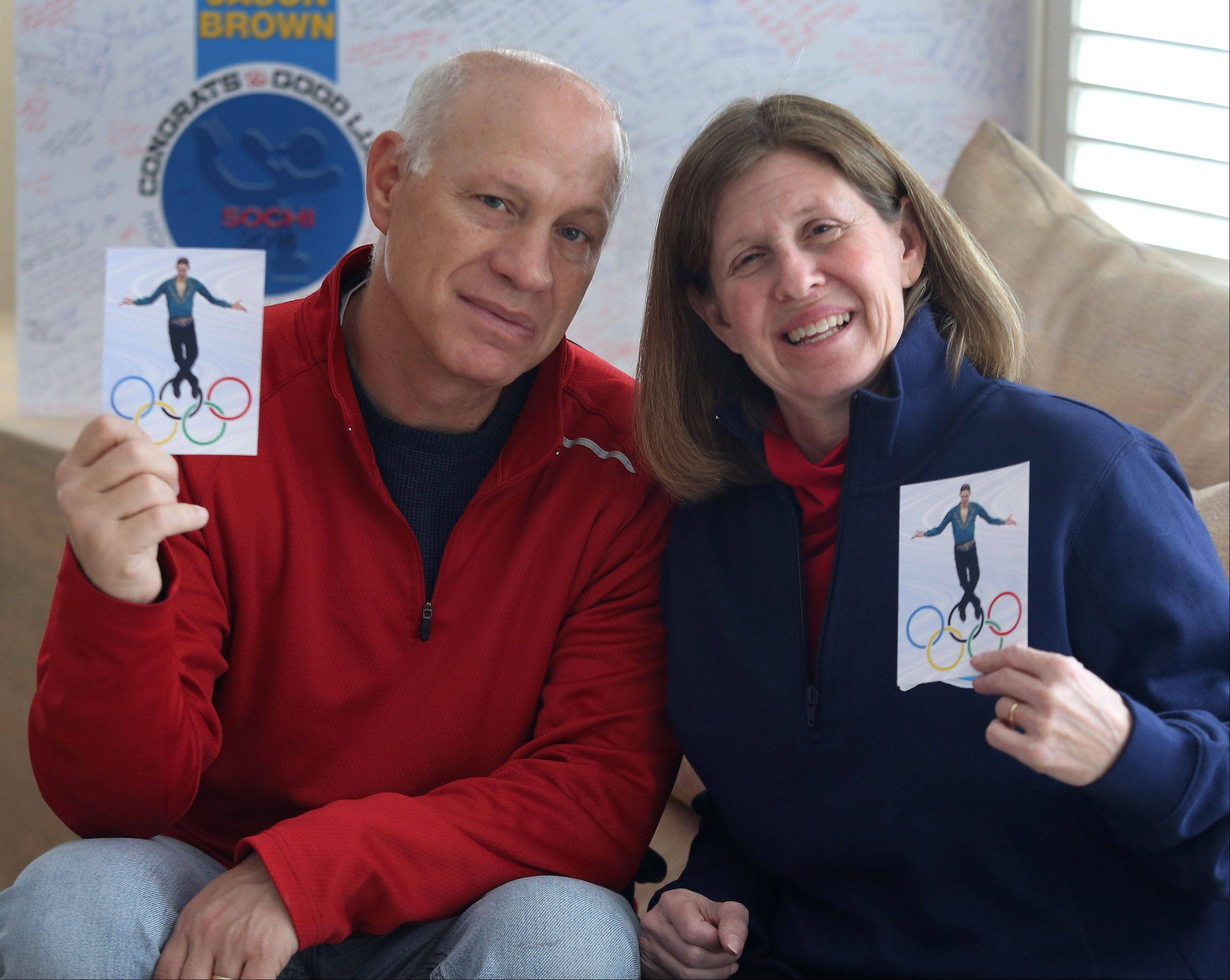 Steve and Marla Brown of Highland Park are heading to Sochi, Russia, to watch their son Jason compete in men's figure skating in the Olympics. Highland Park has handed out ribbons to display in support of Jason.