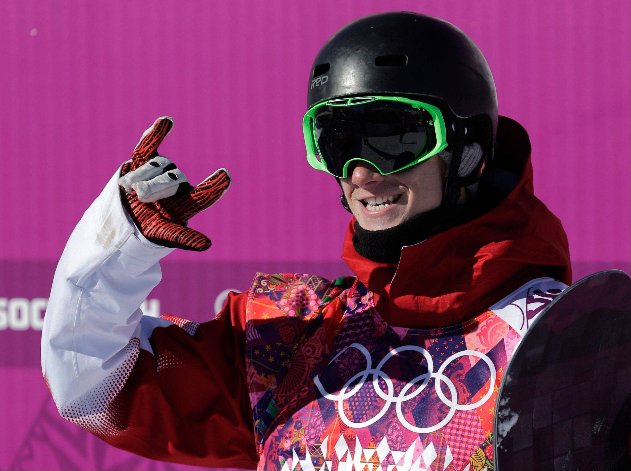 Canada's Maxence Parrot reacts Thursday after a run during the men's snowboard slopestyle qualifying at the Rosa Khutor Extreme Park ahead of the 2014 Winter Olympics in Krasnaya Polyana, Russia.