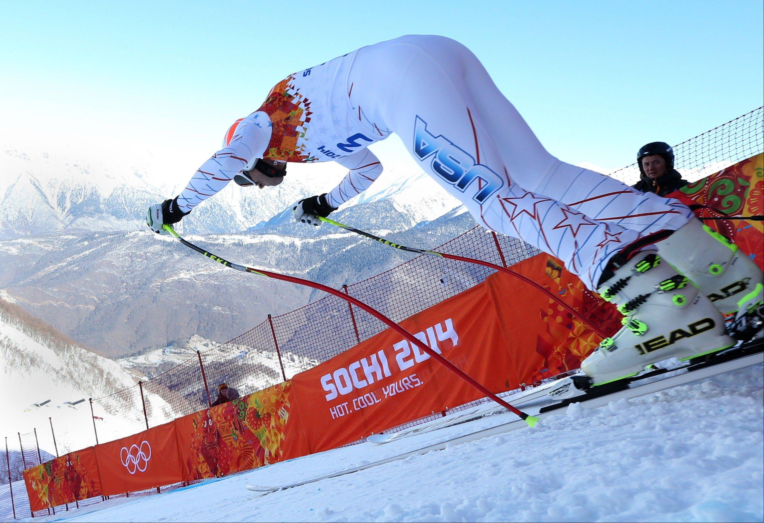 United States skier Bode Miller starts Thursday in a men's downhill training run for the 2014 Winter Olympicsin Krasnaya Polyana, Russia.