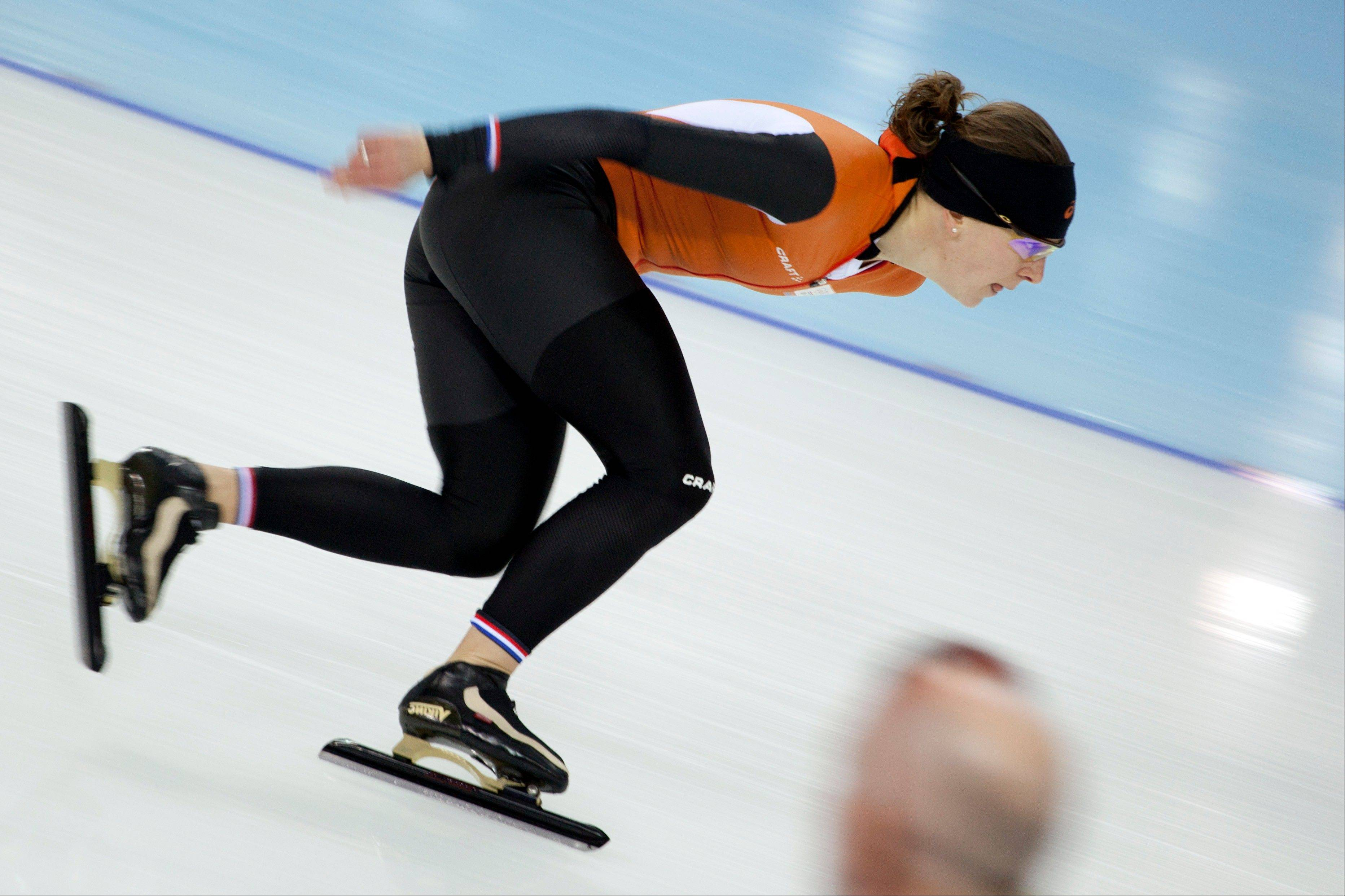 Speedskater Ireen Wust of the Netherlands trains Thursday at the Adler Arena Skating Center during the 2014 Winter Olympics in Sochi, Russia.