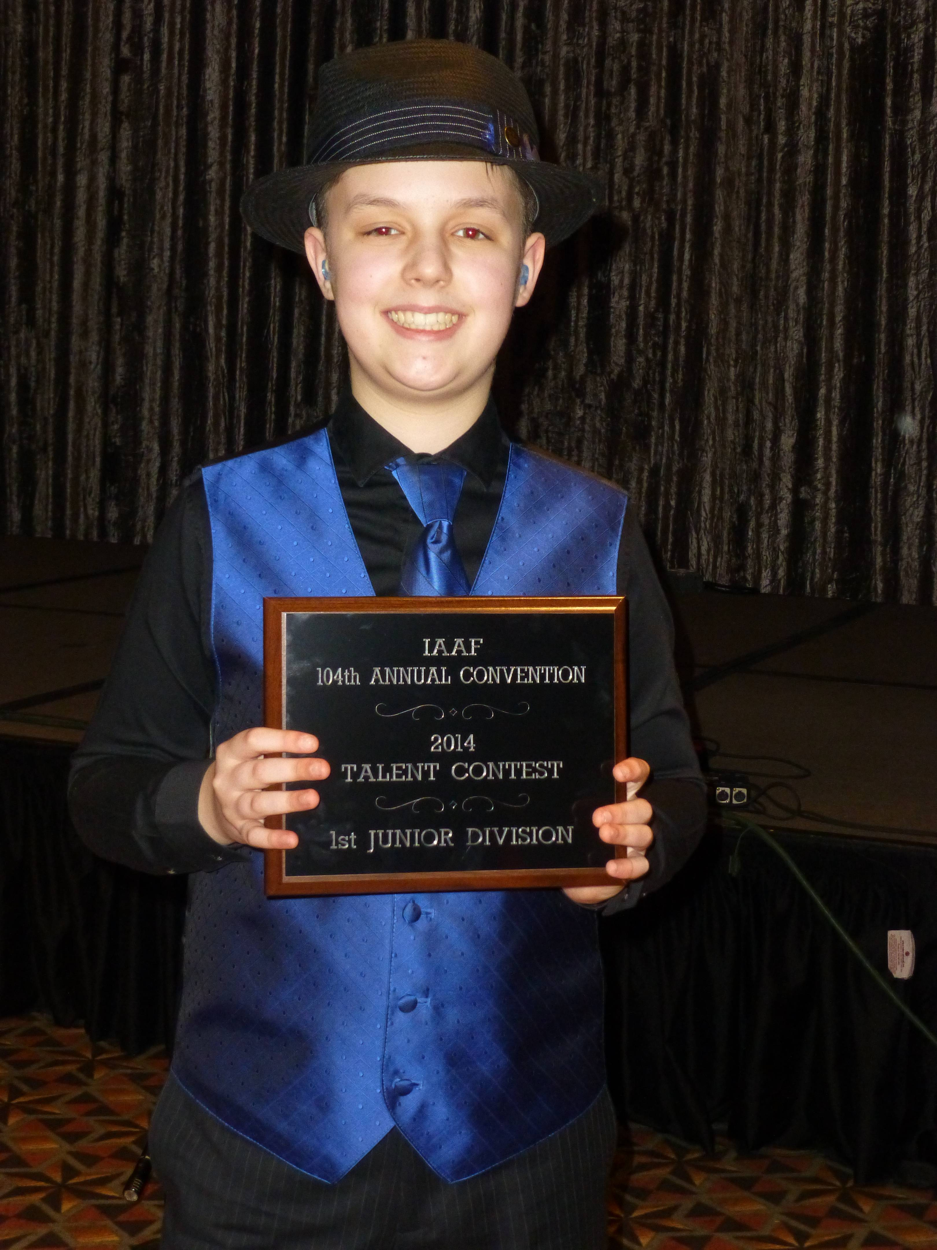 "Daniel Souvigny of Hampshire wins first place junior division talent contest in Springfield with his piano solo ""ragtime"" performance of Nagasaki."