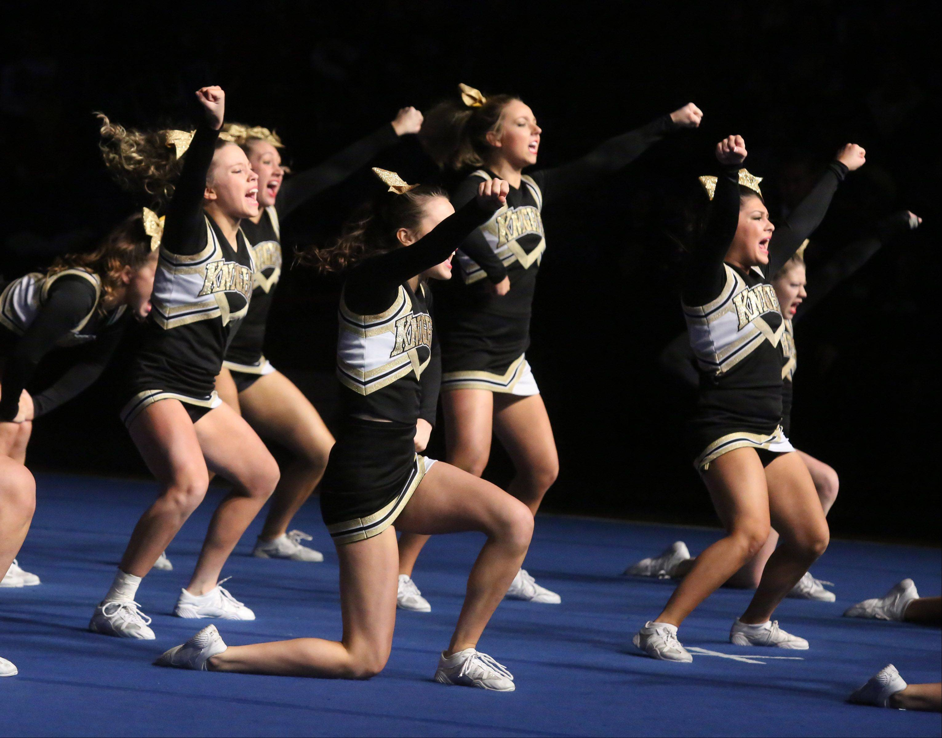 Grayslake North High School�s cheer team performs in the medium team category.