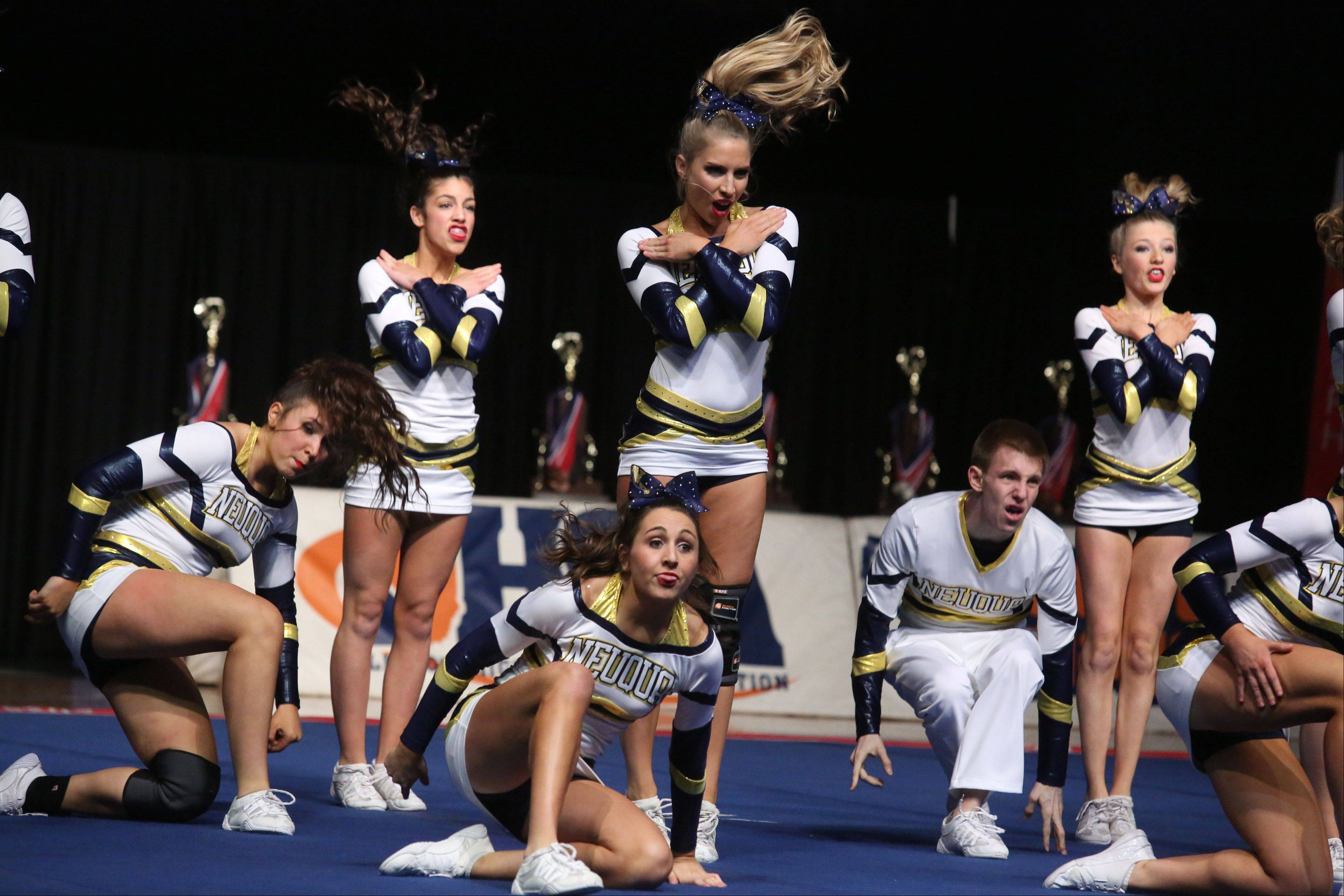 Neuqua Valley High School�s cheer team performs in the large team category.