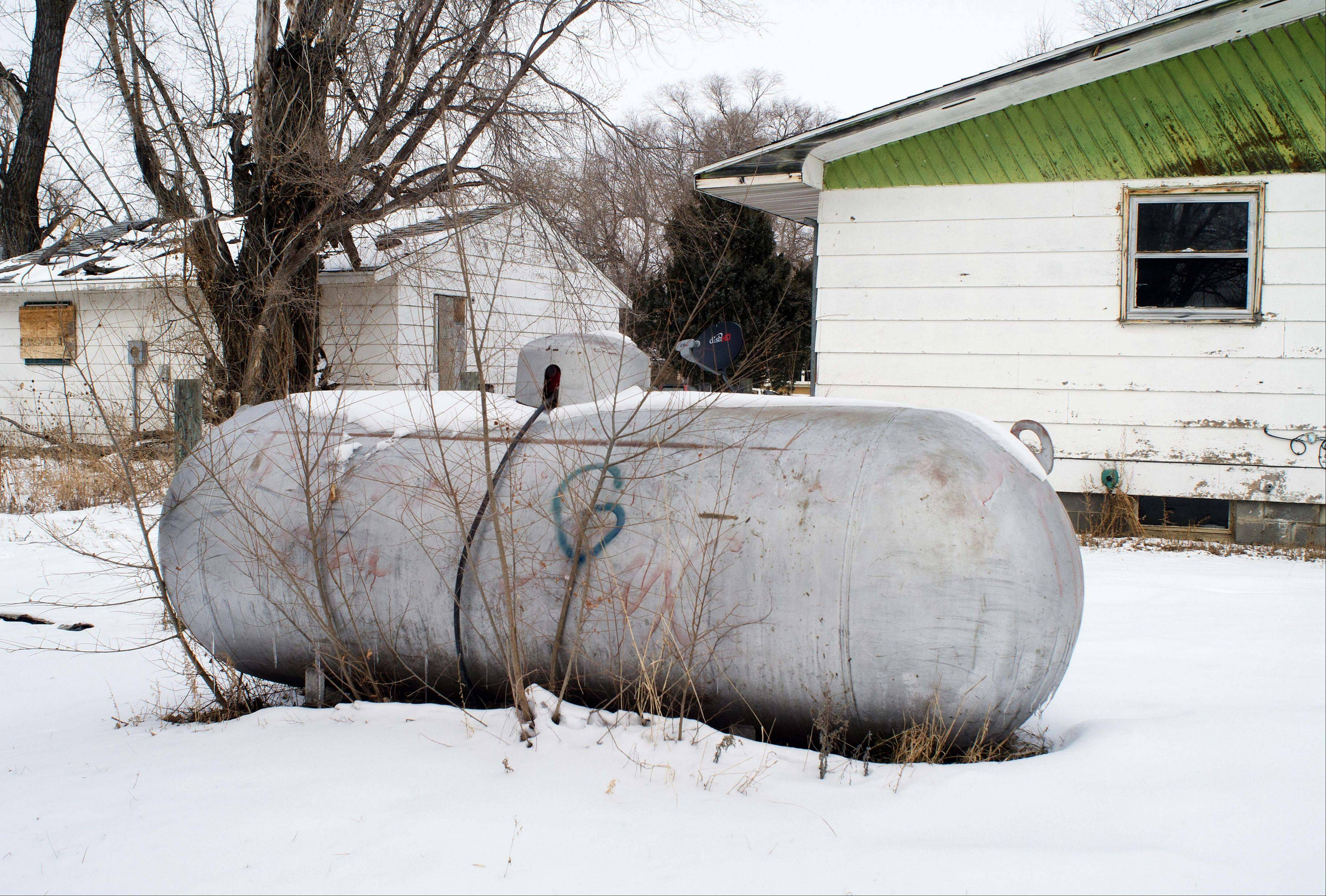 A propane tank outside a home on the Standing Rock Reservation in Fort Yates, N.D.