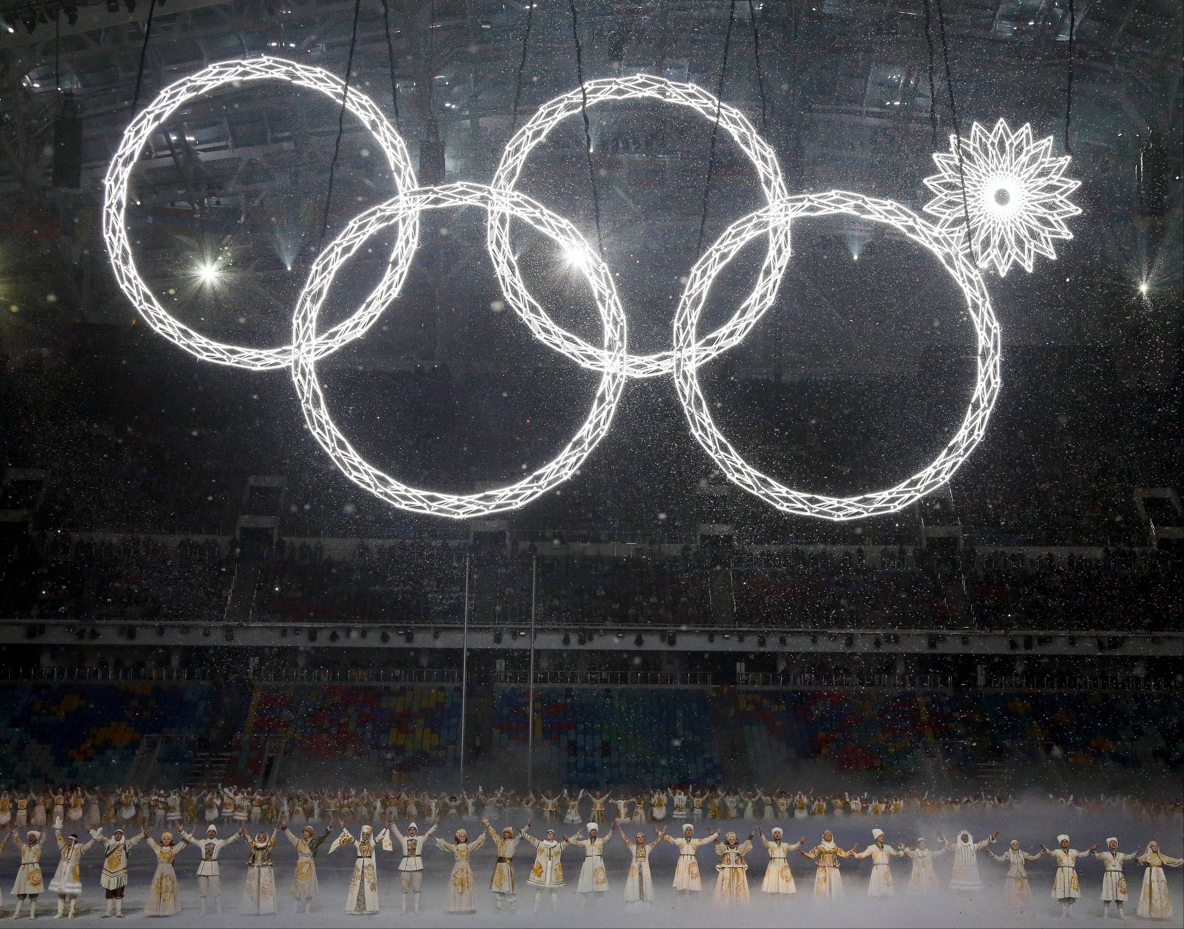 One of the rings forming the Olympic Rings symbol fails to open Friday during the opening ceremony of the 2014 Winter Olympics in Sochi, Russia.