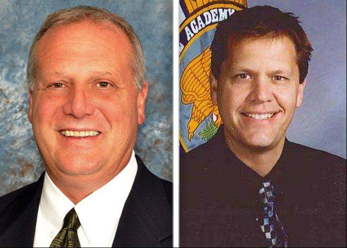 Bill Prim, left, and Andrew Zinke are running for McHenry County Sheriff in the March GOP primary.