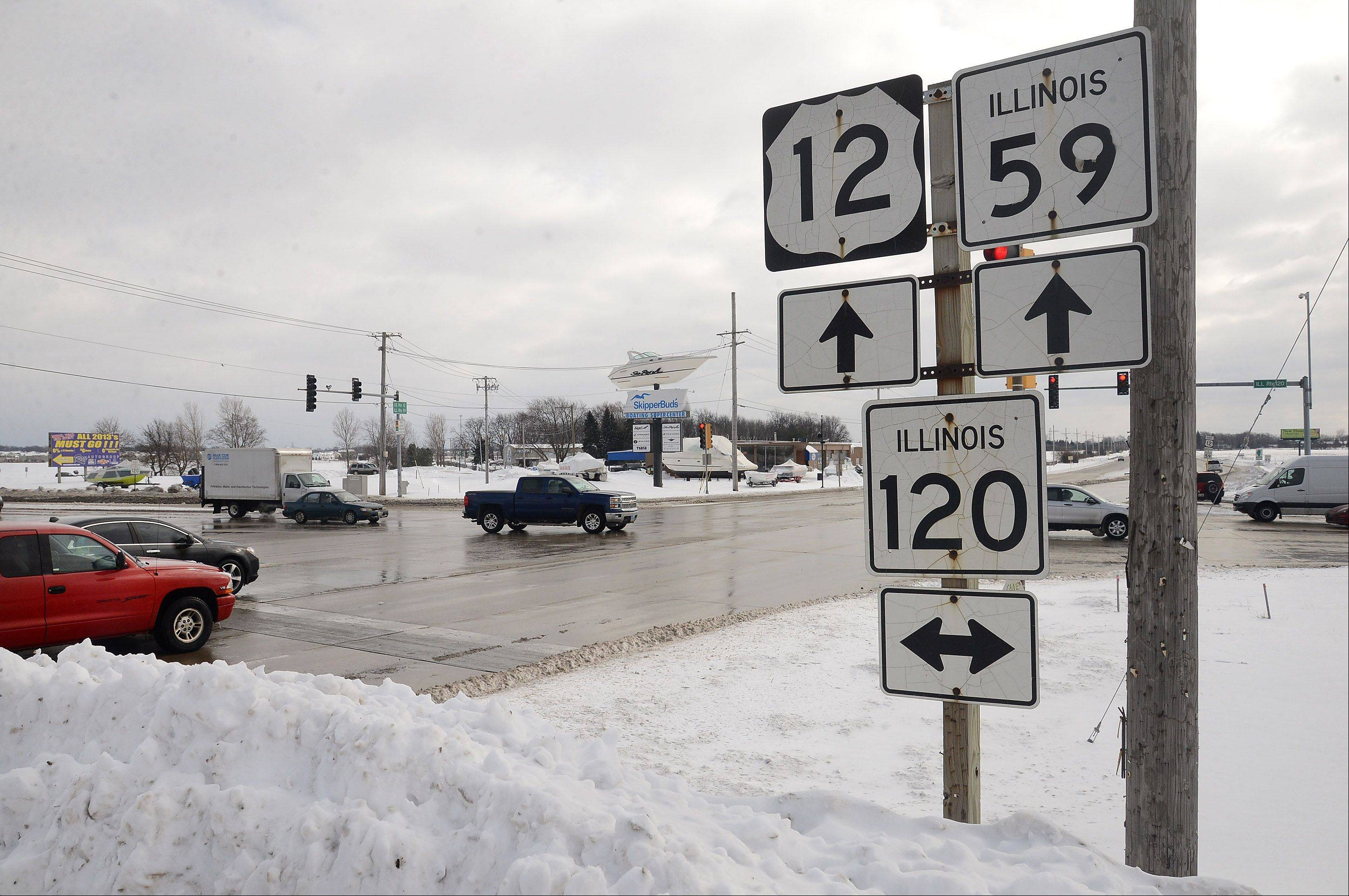 The intersection of routes 120 and 12/59 is the focus of a proposed study.