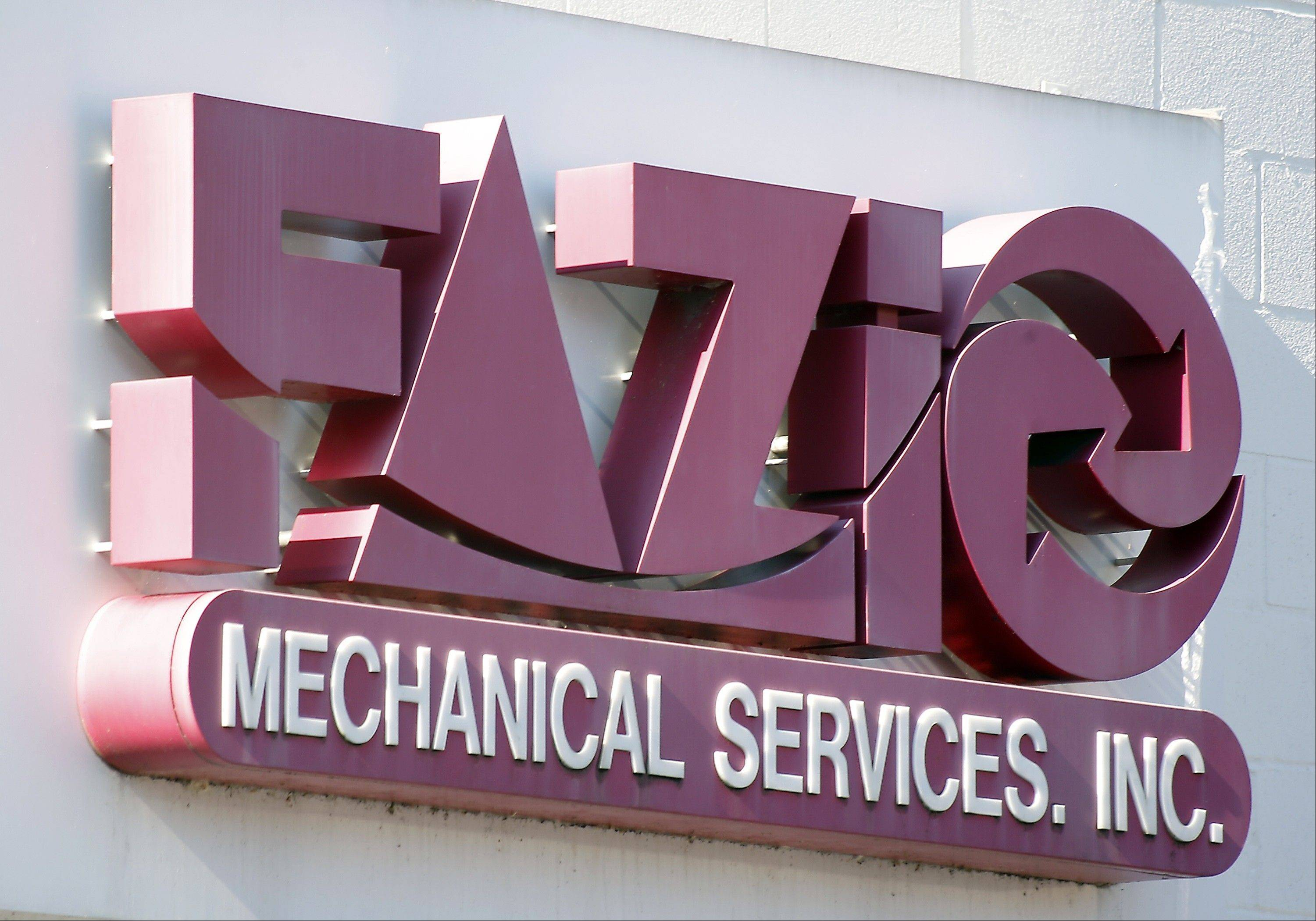 A sign for Fazio Mechanical Services Inc. at their location in Sharpsburg, Pa.