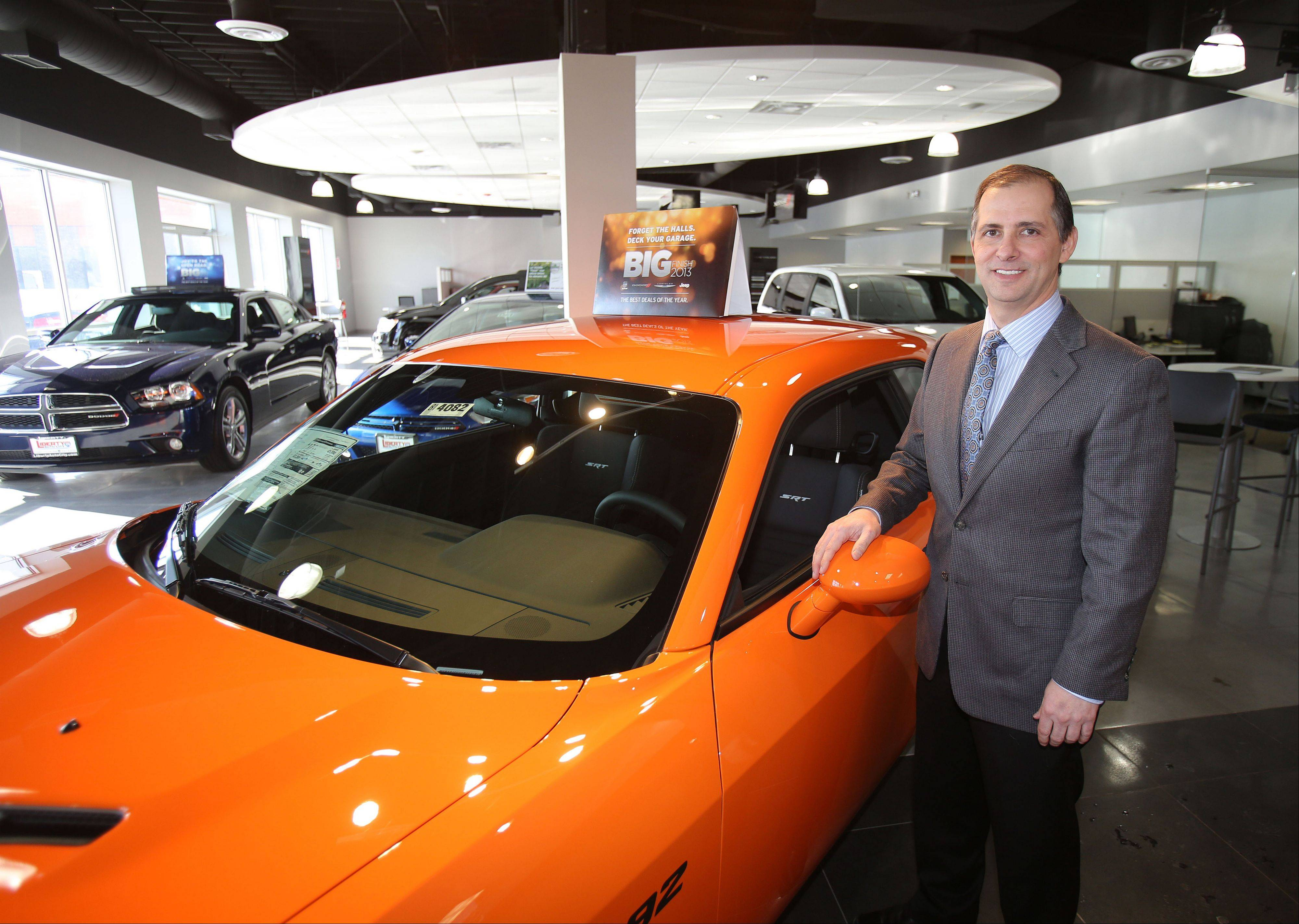 An enlarged showroom and customer lounge await buyers of new Chrysler, Dodge, Jeep, Ram Trucks, Subaru and Mazda vehicles at Liberty Auto City in Libertyville, says owner Joe Massarelli.