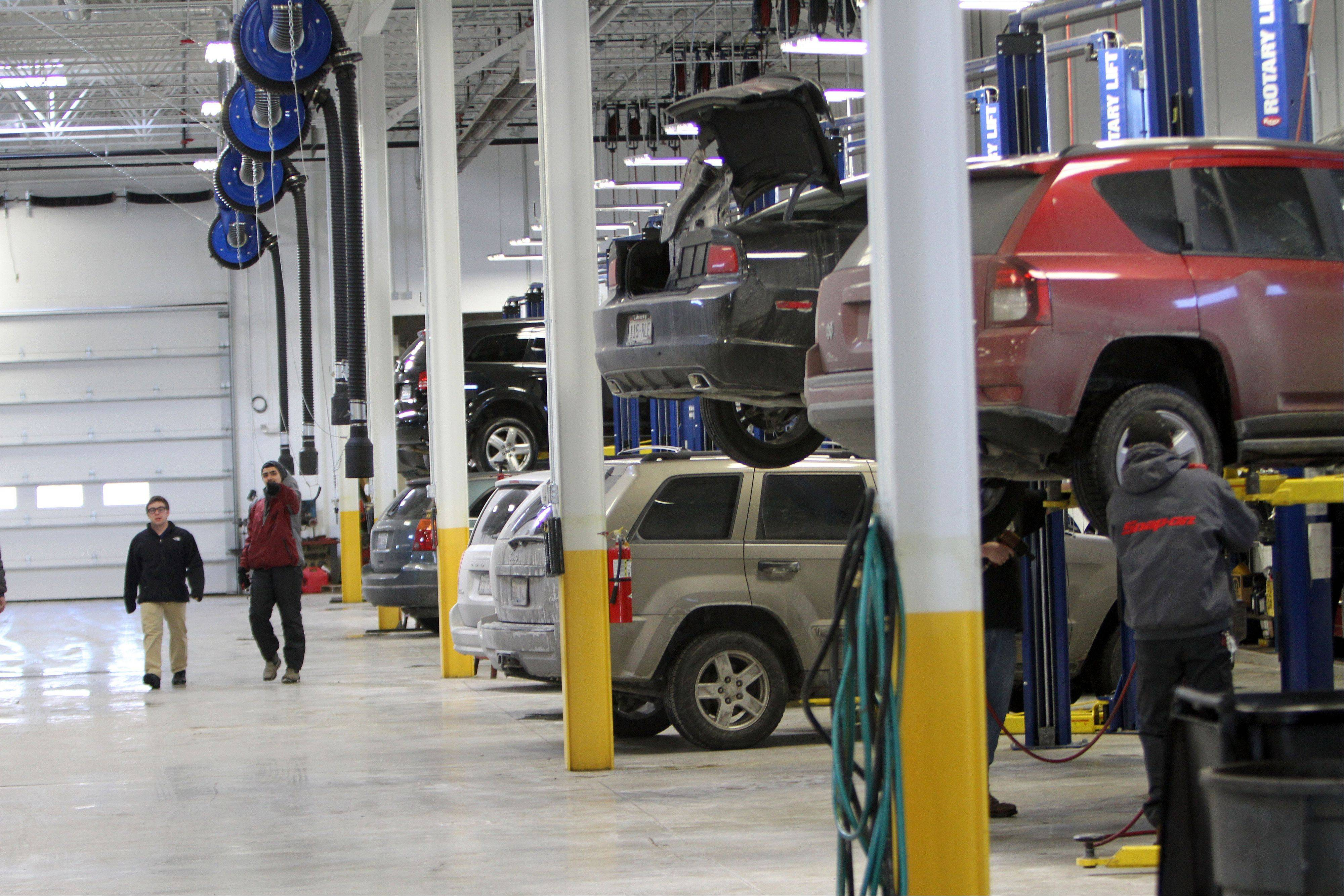 The new service area at Liberty Auto City has been expanded to three service lanes and 25 work bays.