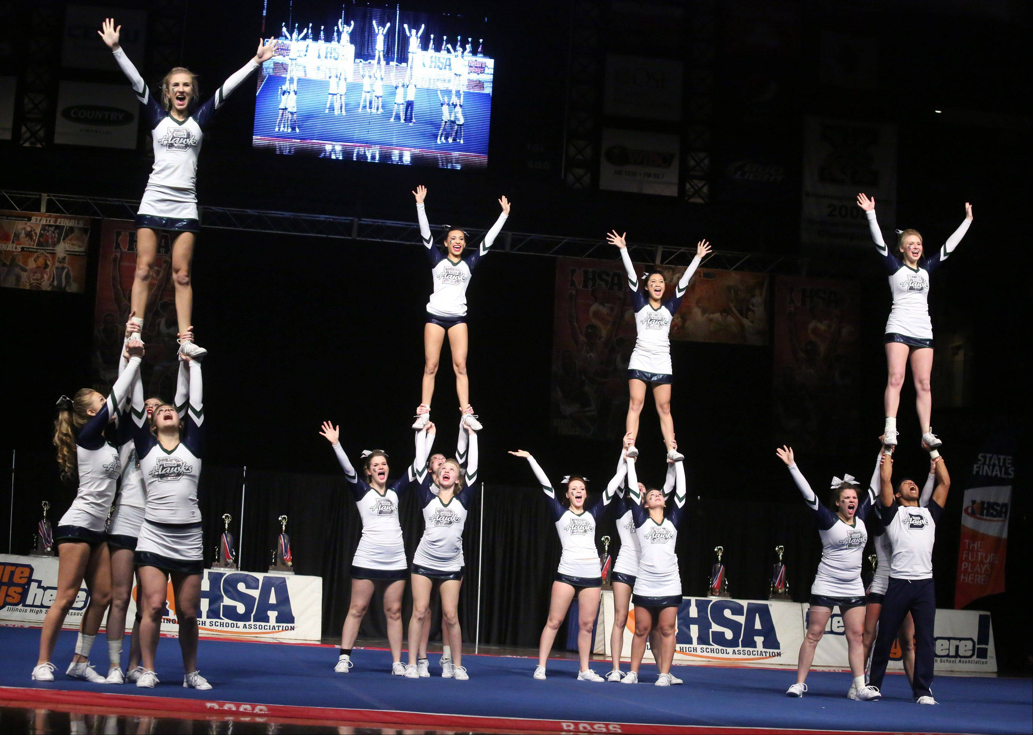 Bartlett High School's cheer team performs in the large team category.