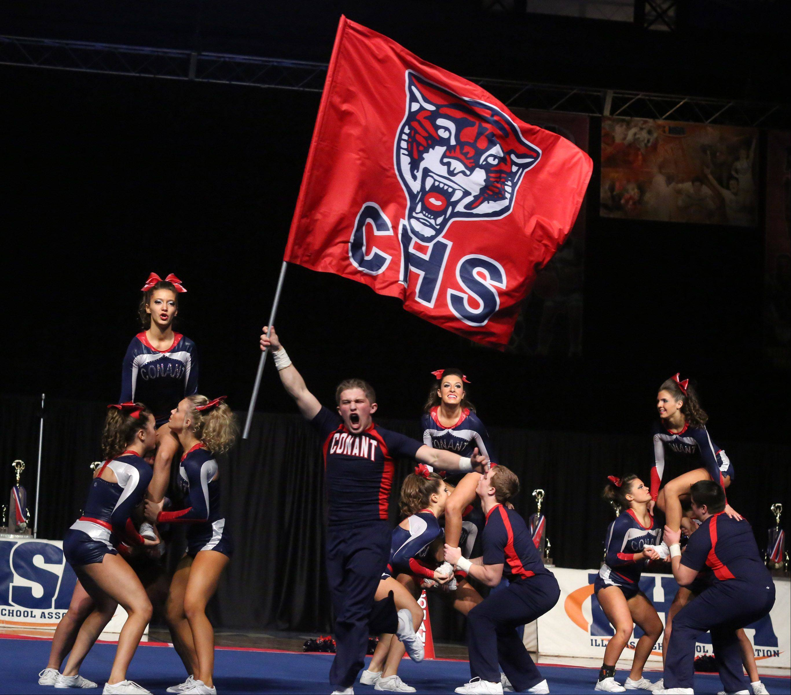 Conant High School's cheer team performs in the coed team category.