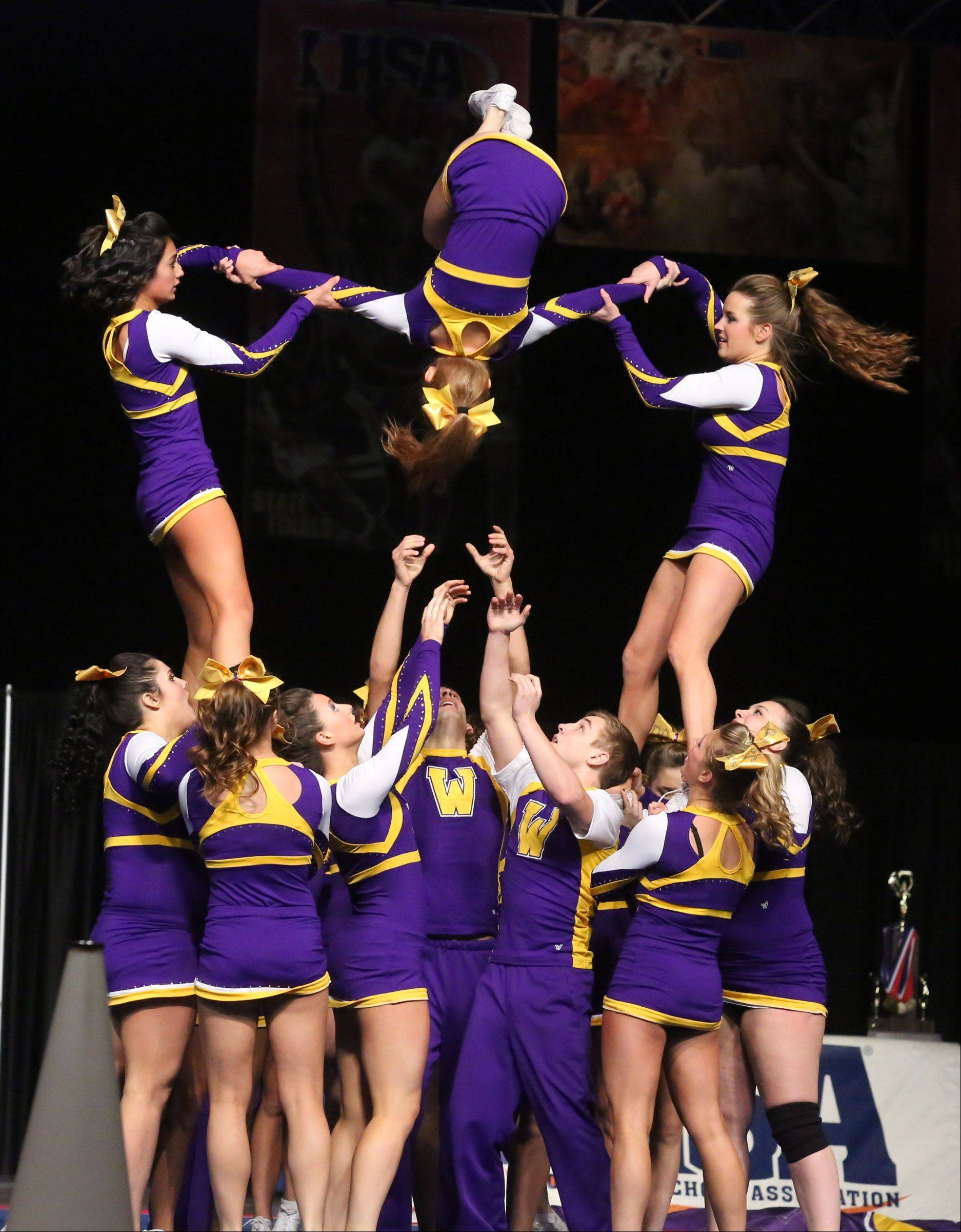 Wauconda High School's cheer team performs in the coed team category.