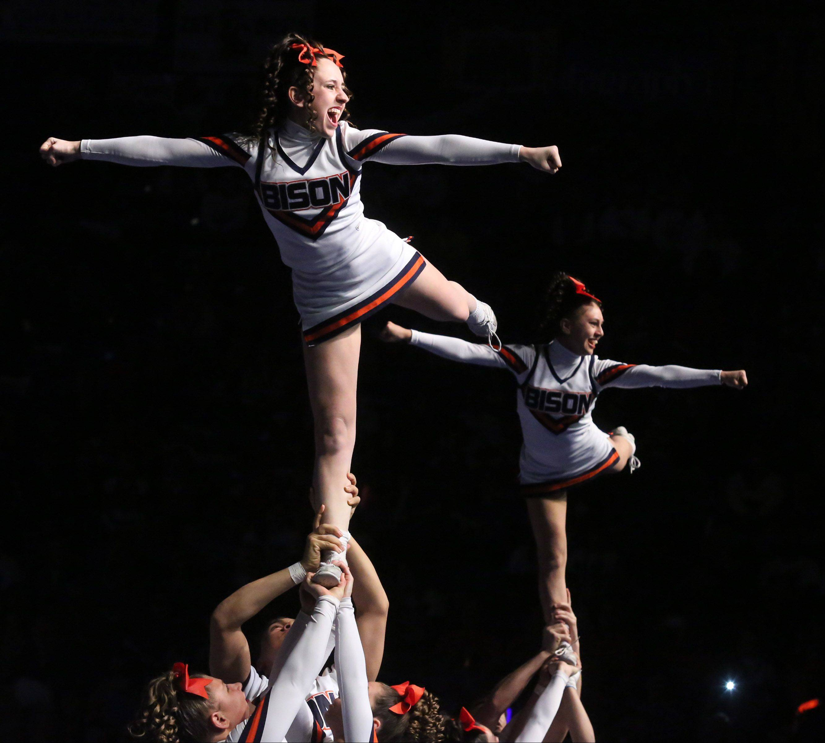 Buffalo Grove High School's cheer team performs in the coed team category.