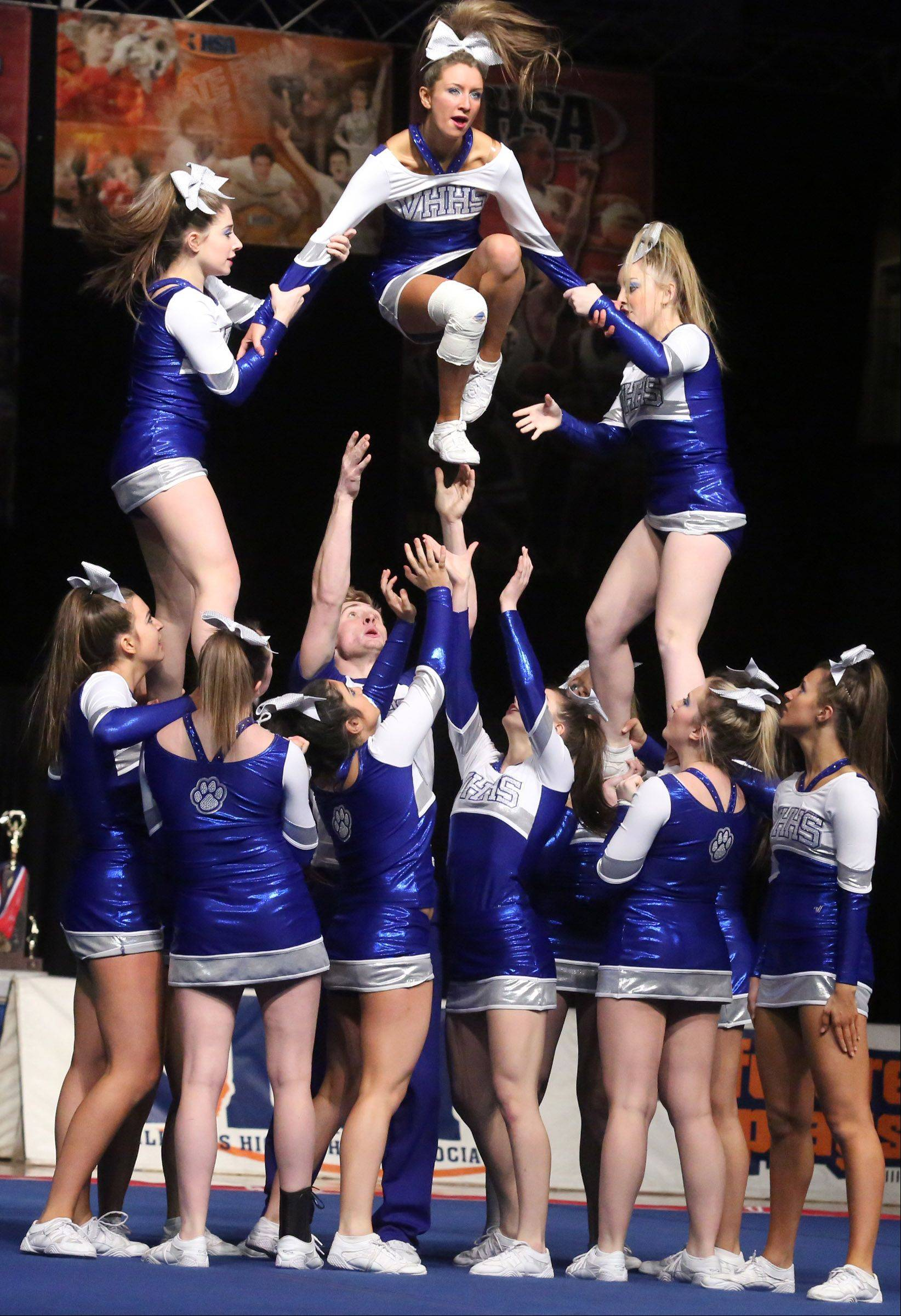 Vernon Hills High School's cheer team performs in the medium team category.