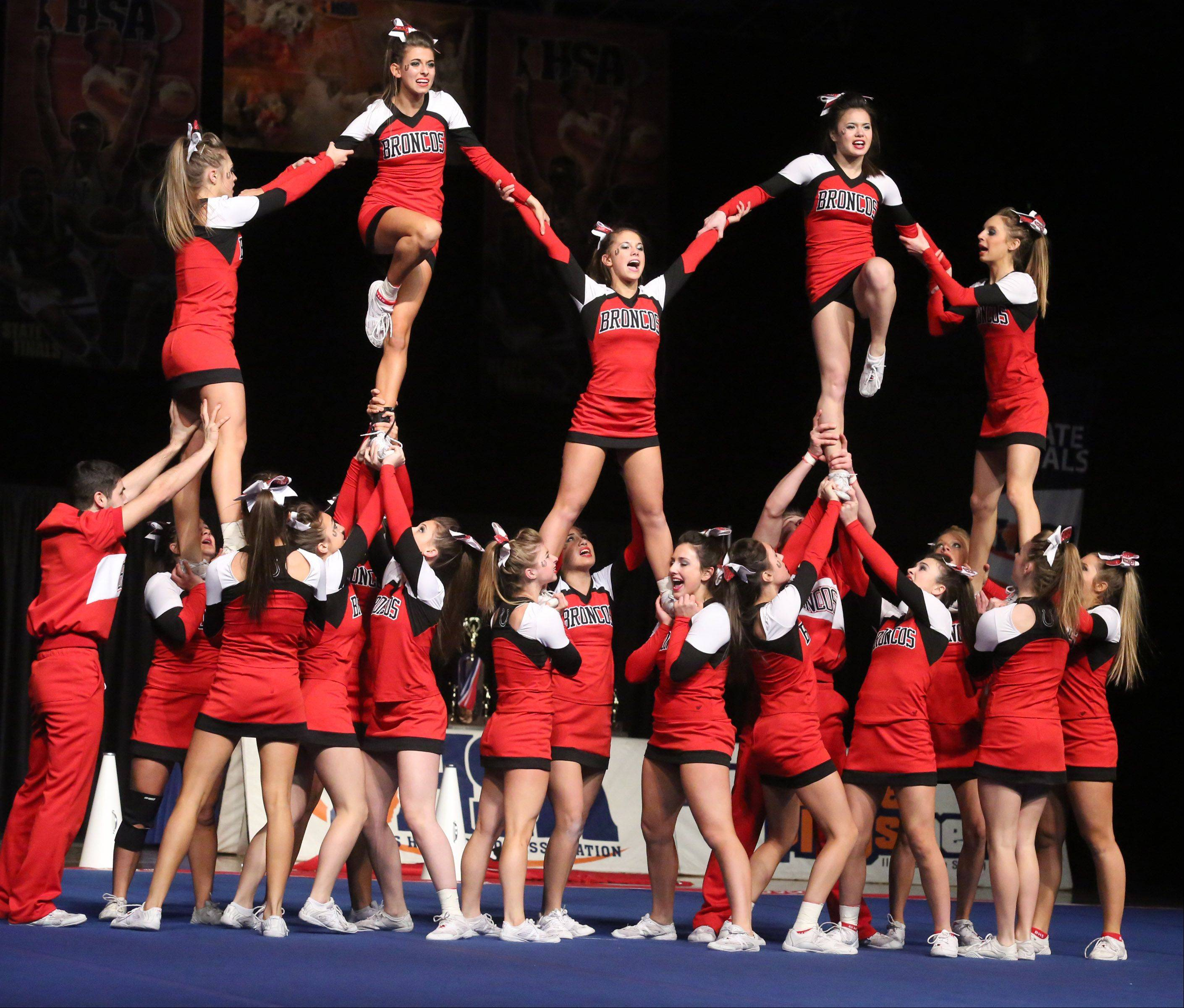 Barrington High School's cheer team performs in the coed team category.
