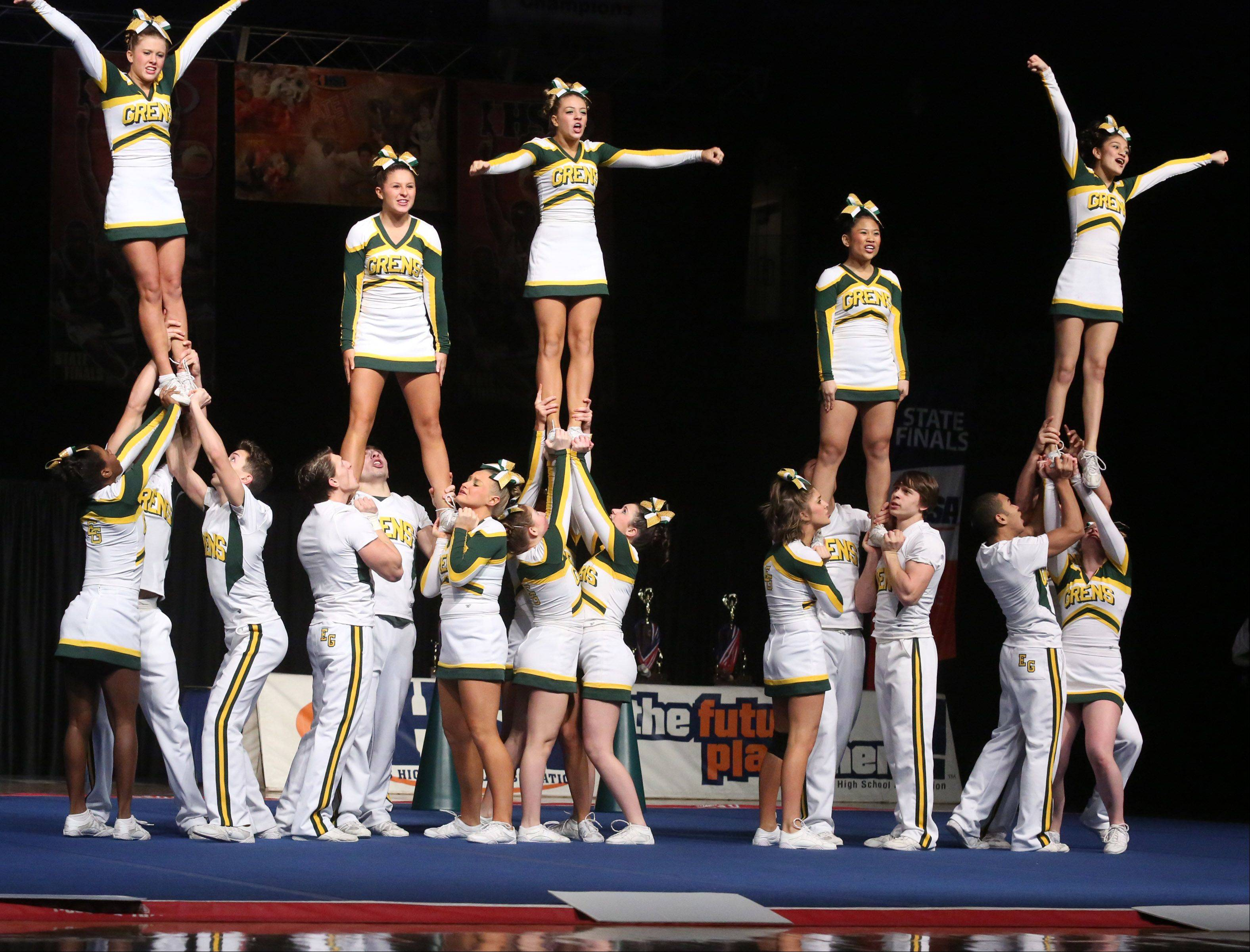 Elk Grove High School's cheer team performs in the coed team category.
