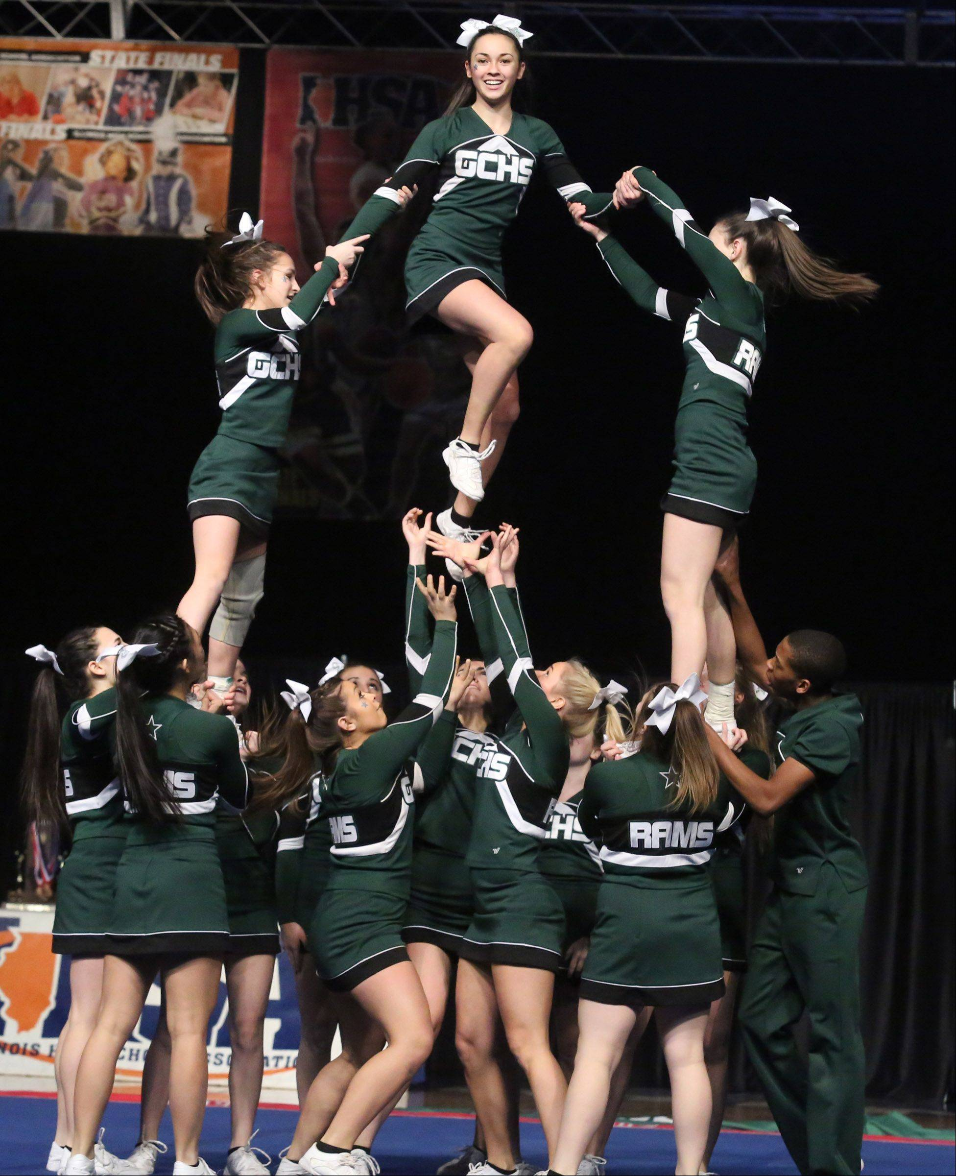 Grayslake Central High School's cheer team performs in the medium team category.