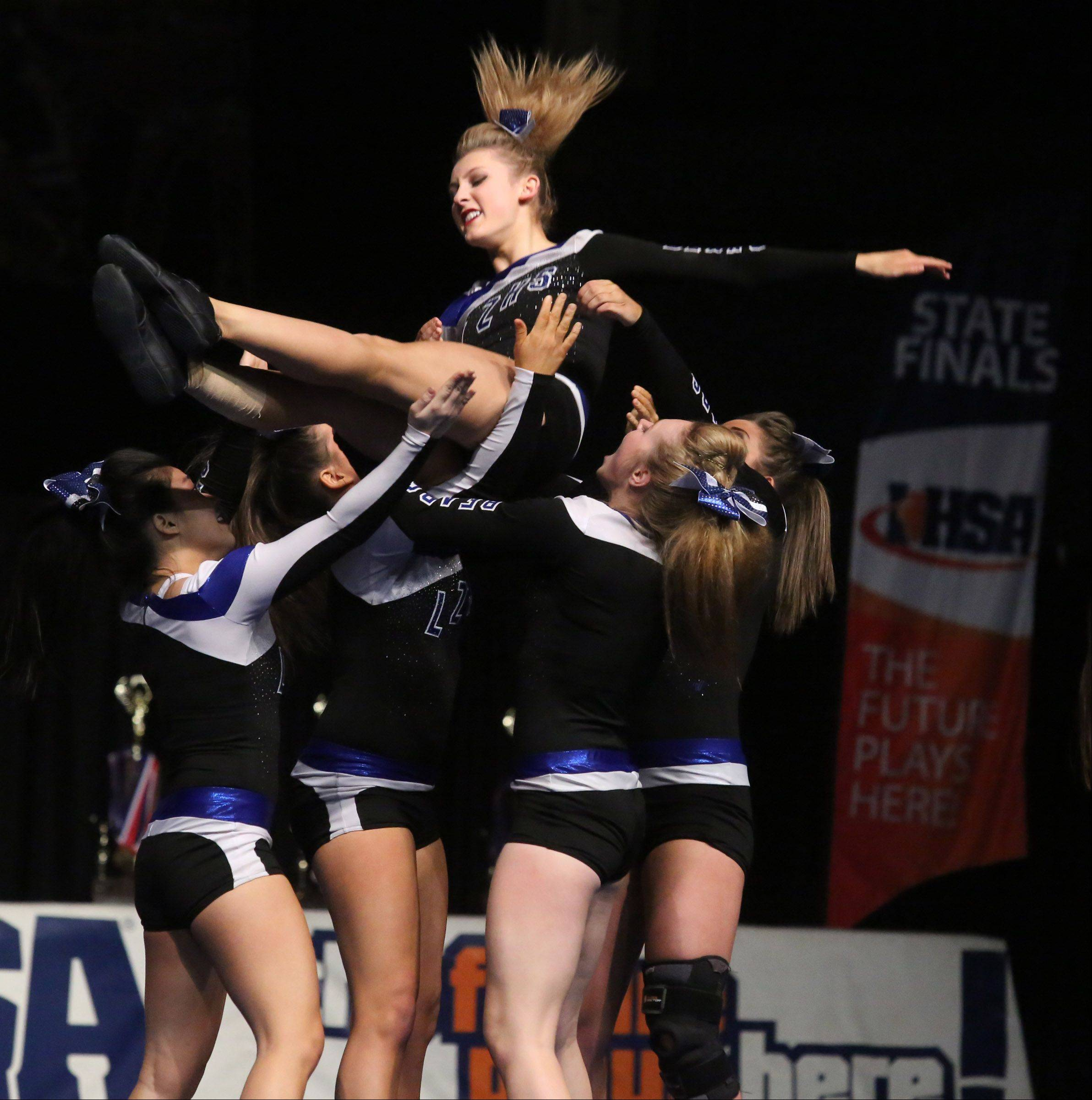 Lake Zurich High School's cheer team performs in the large team category.