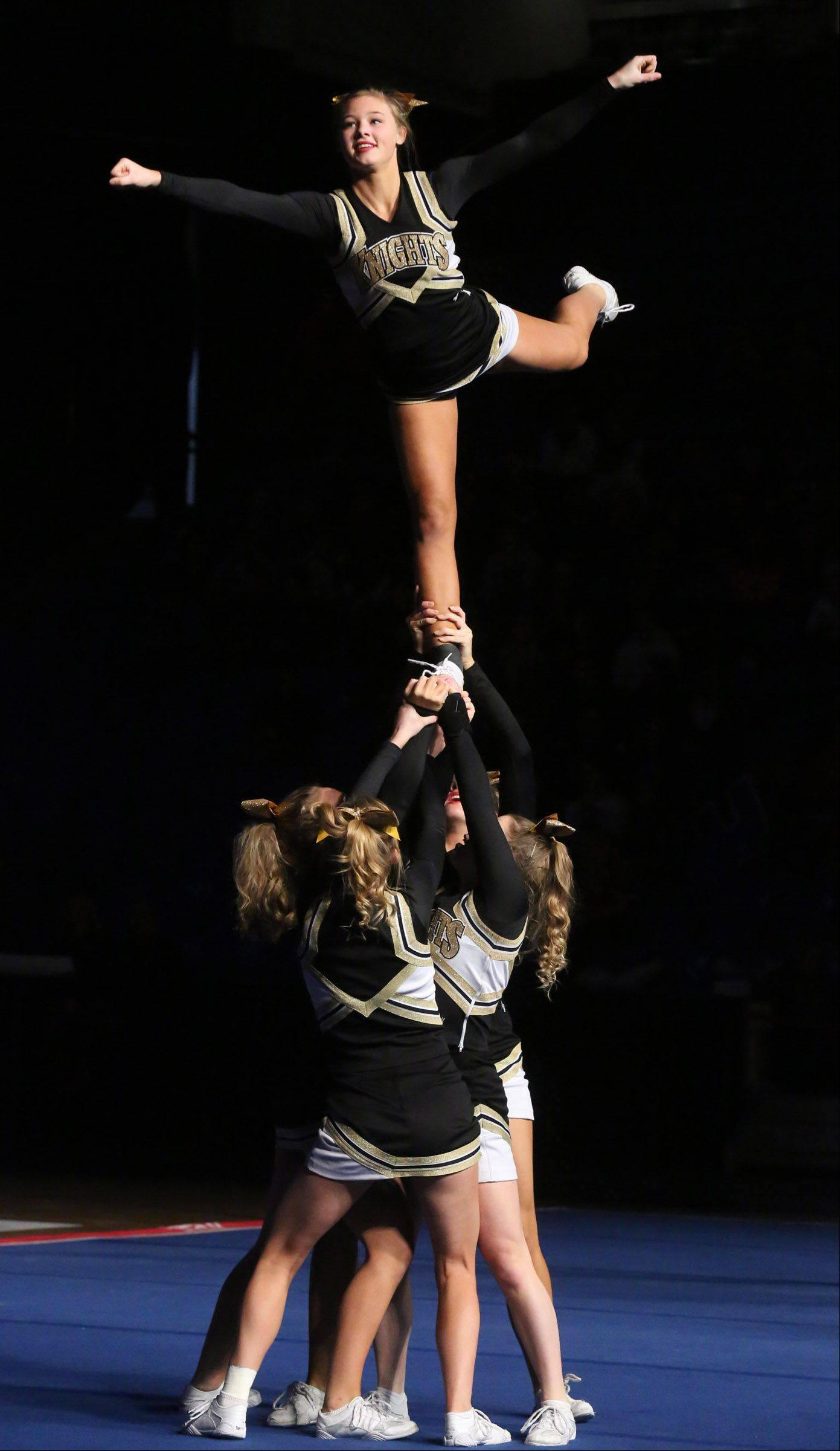 Grayslake North High School's cheer team performs in the medium team category.