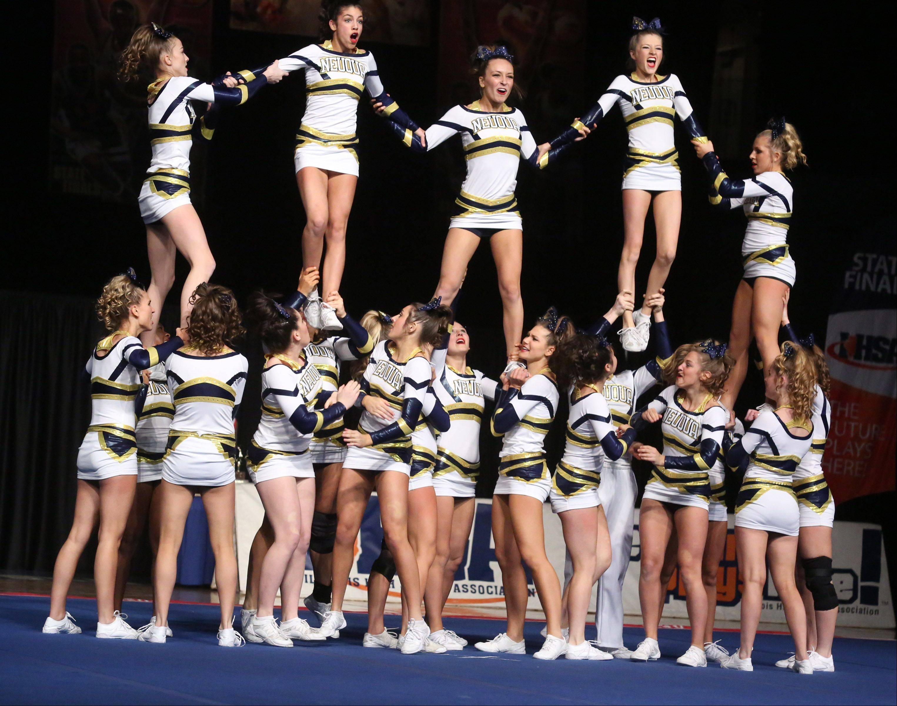 Neuqua Valley High School's cheer team performs in the large team category.