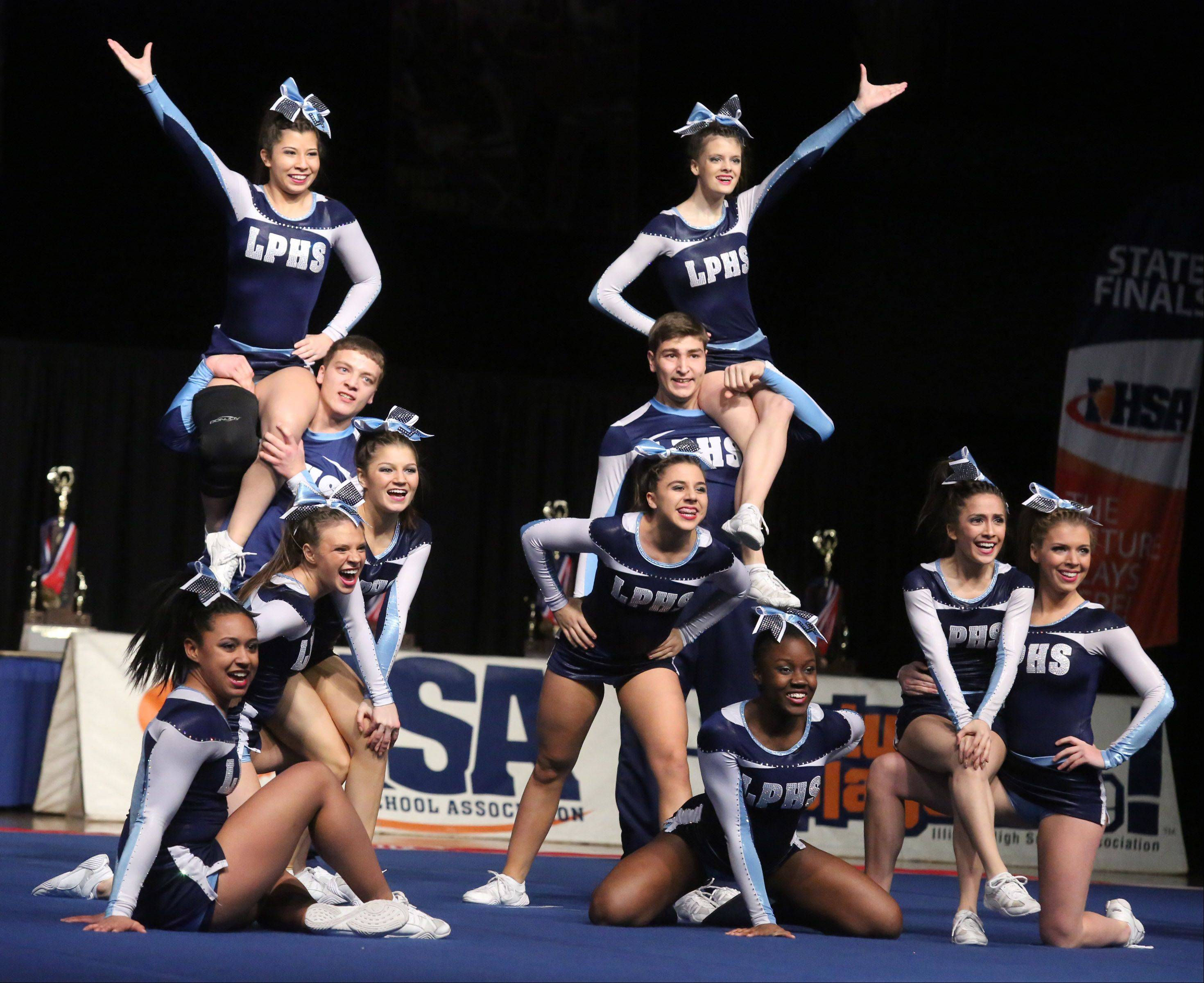 Lake Park High School's cheer team performs in the coed team category.