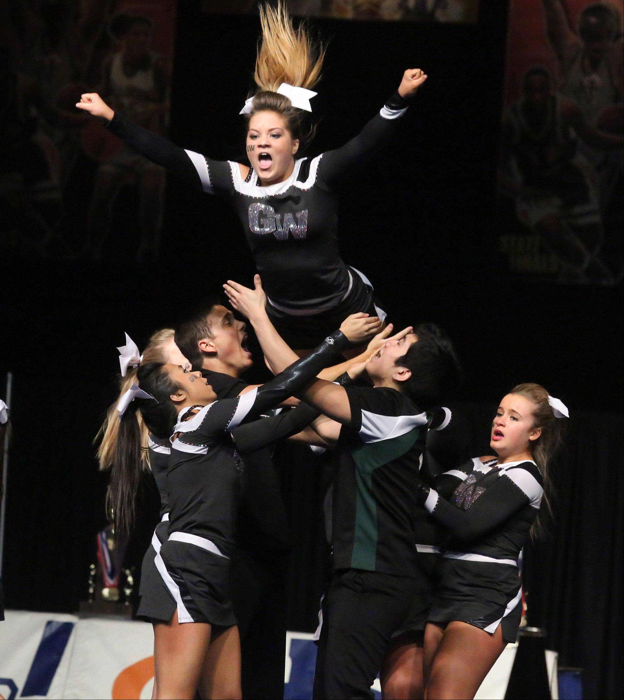 Glenbard West High School's cheer team performs in the coed team category.