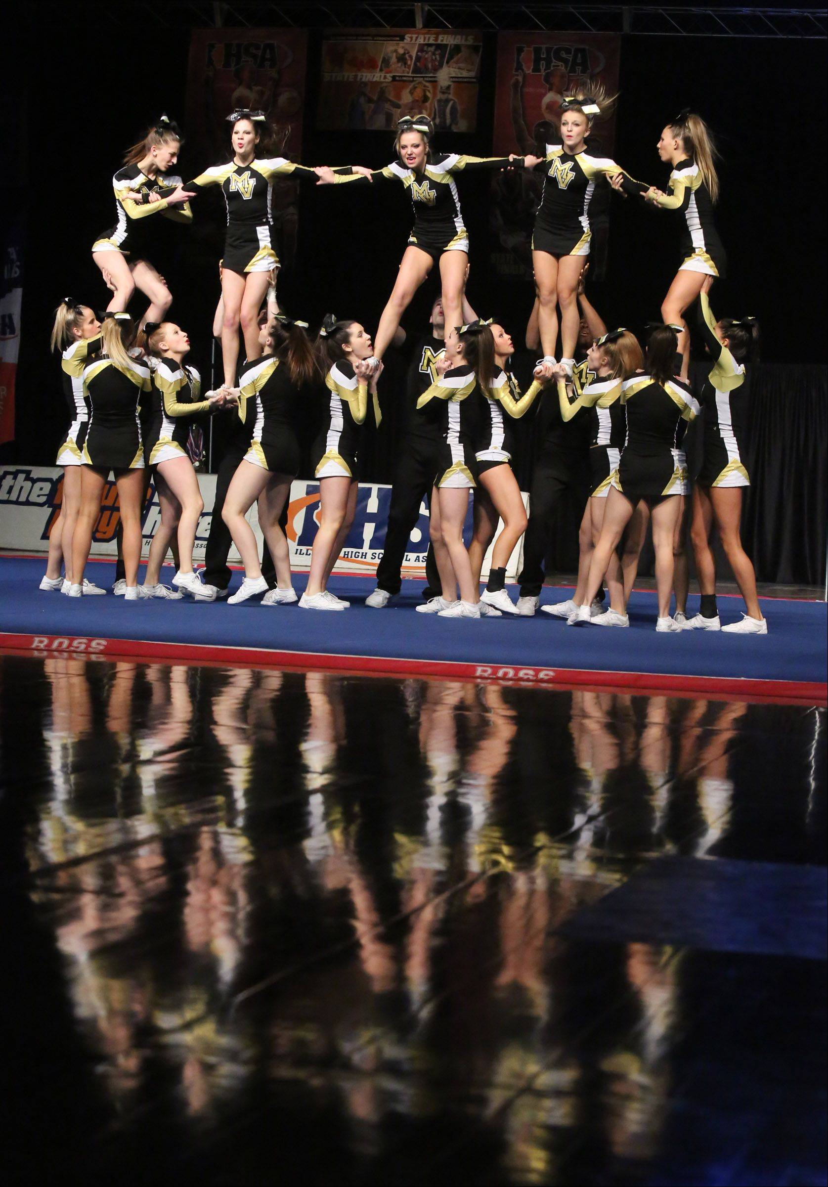 Metea Valley High School's cheer team performs in the coed team category.