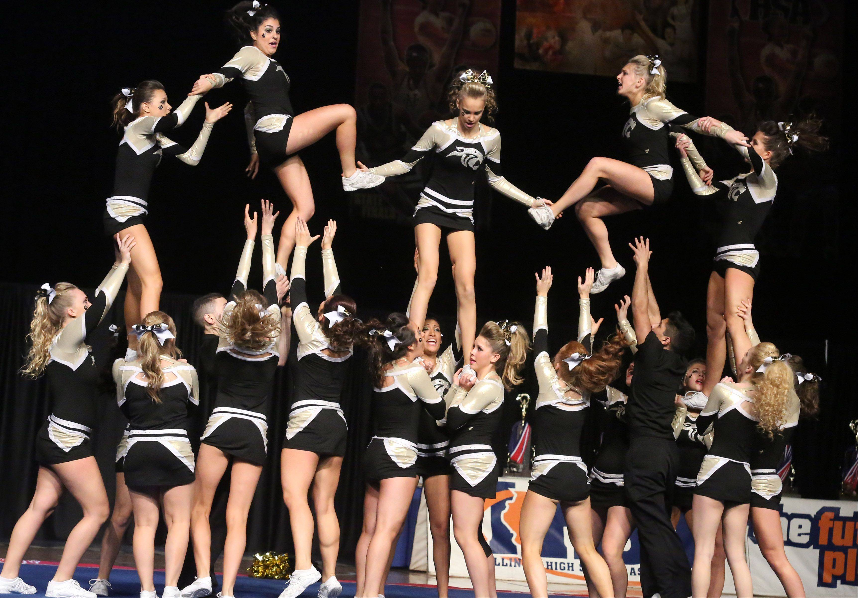 Glenbard North High School's cheer team performs in the coed team category.