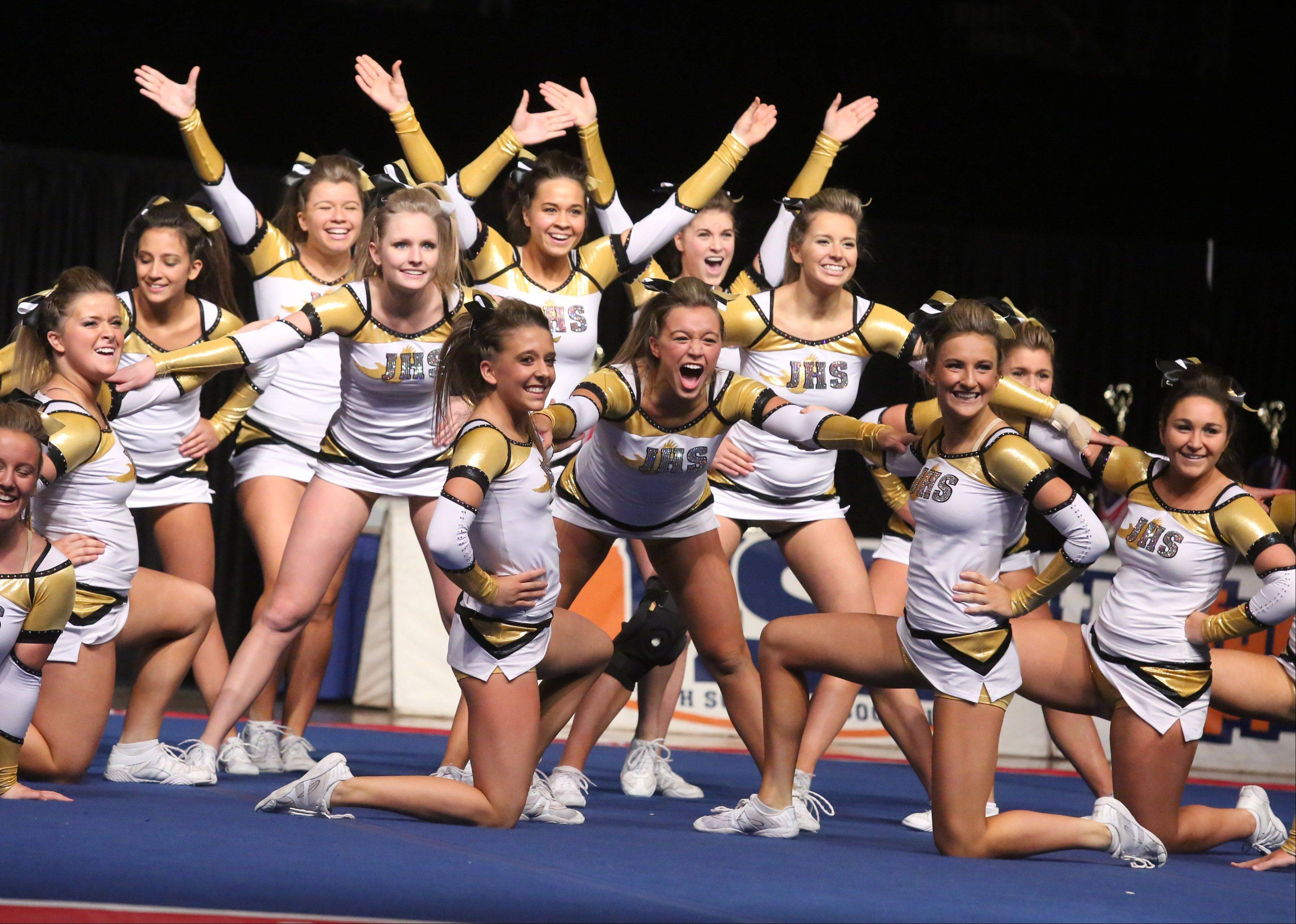 Jacobs High School's cheer team performs in the large team category.