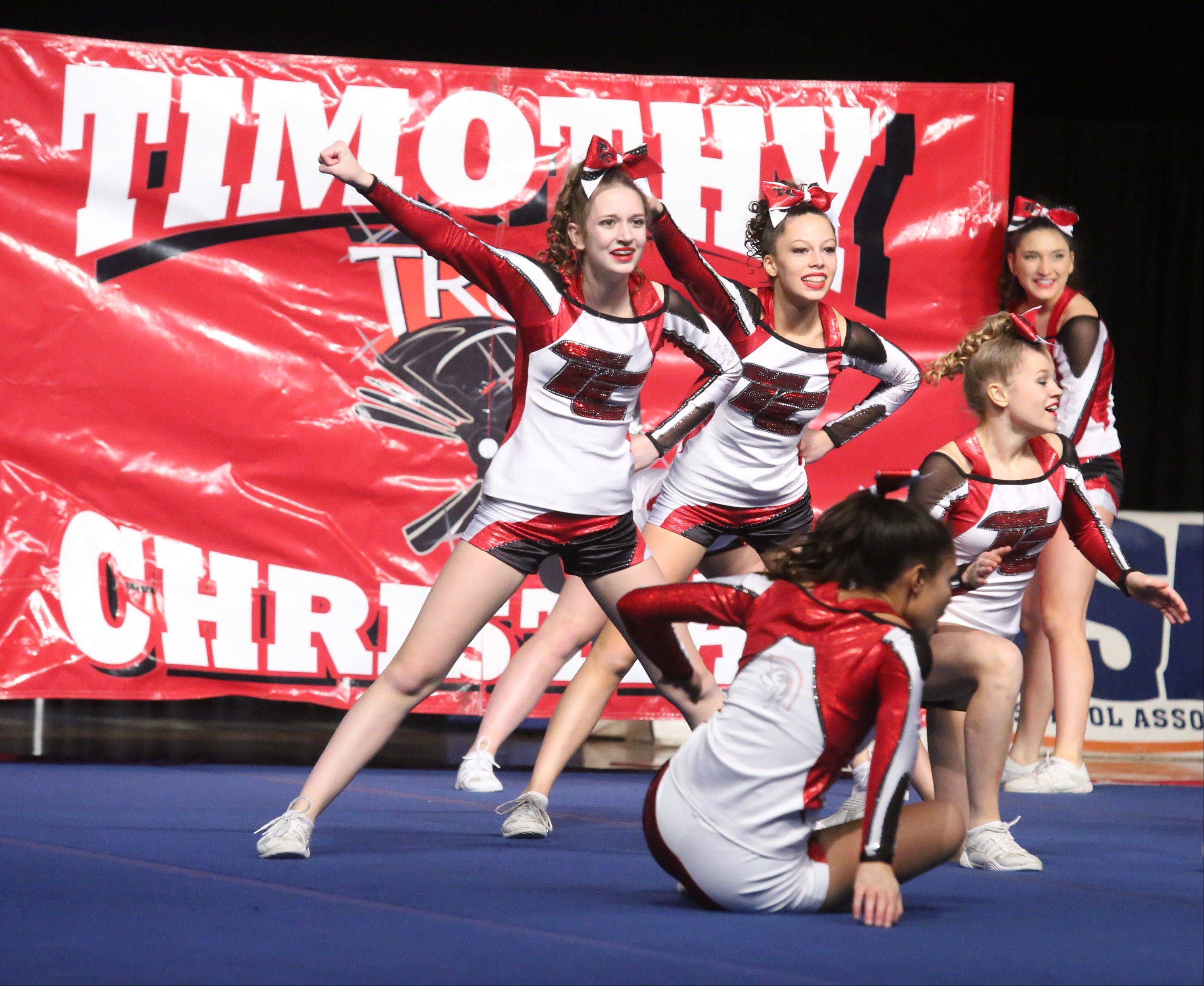 Timothy Christian High School's cheer team performs in the small team category.