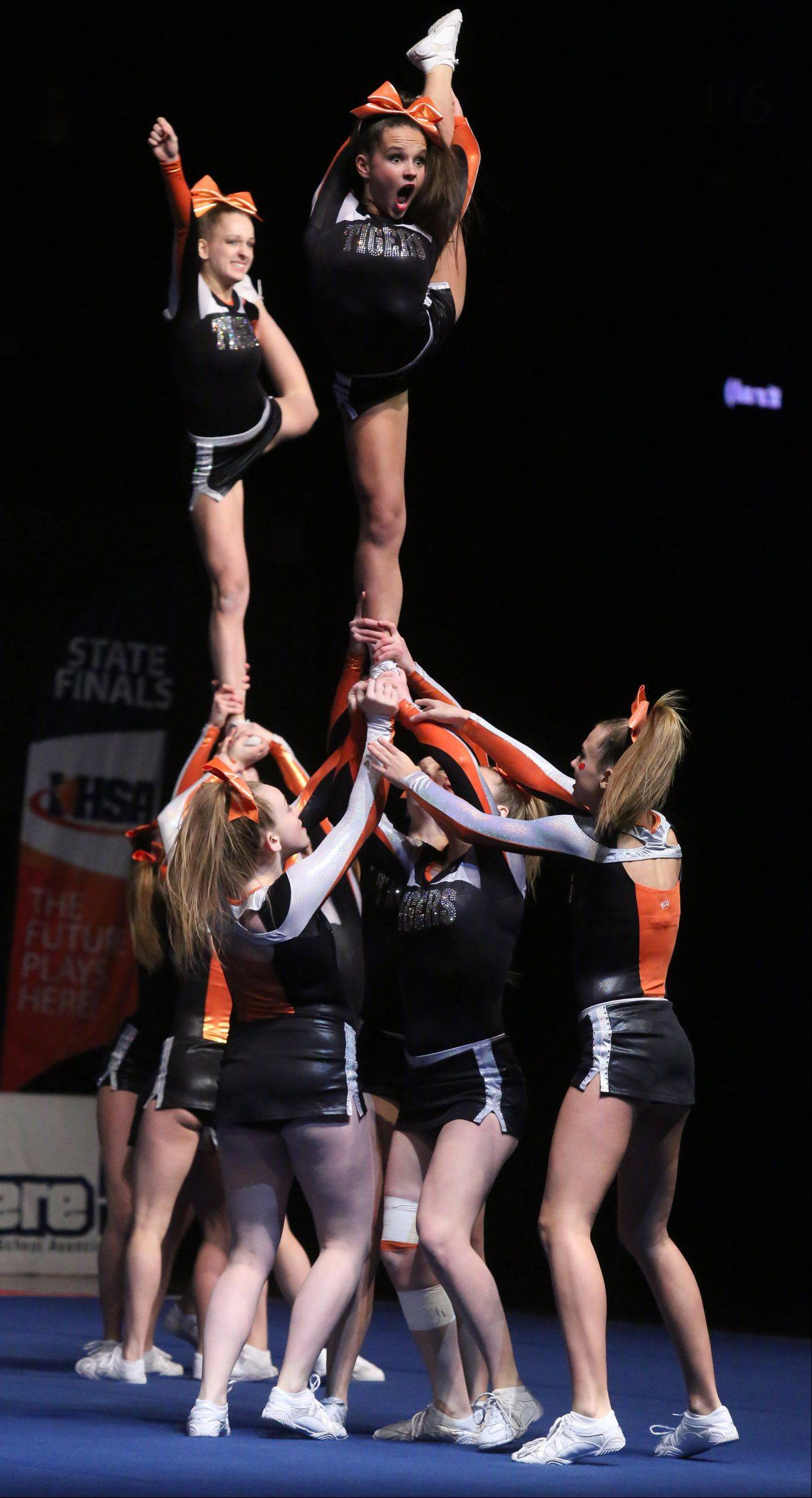 Crystal Lake Central's cheer team performs in the medium team category.